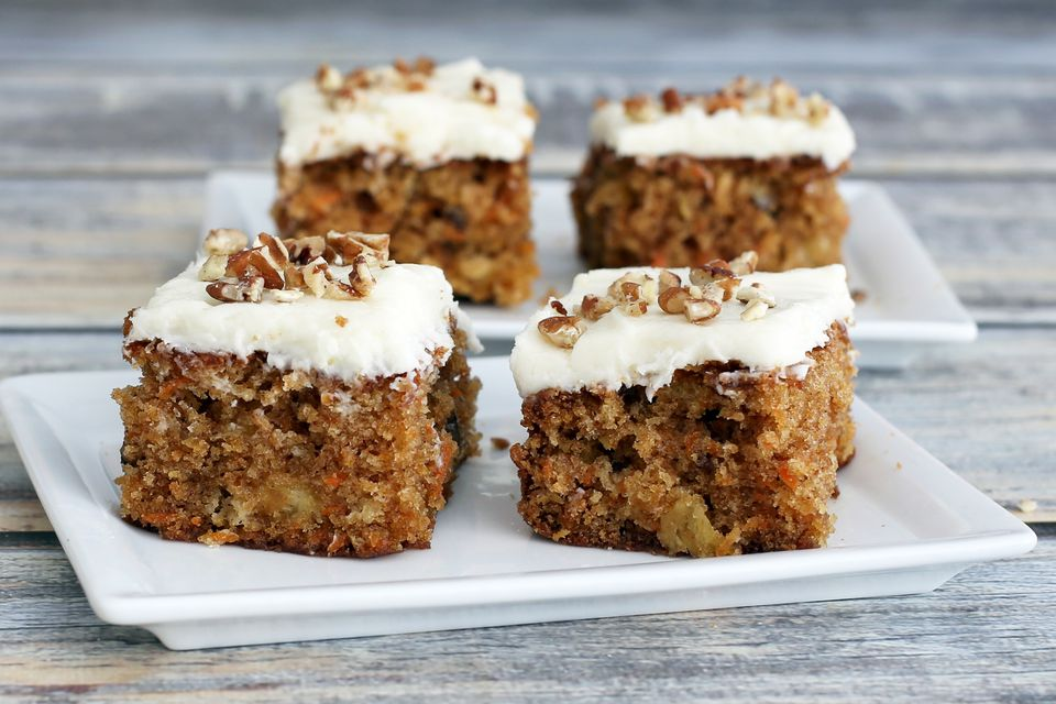 Moist carrot cake with pineapple and cream cheese frosting