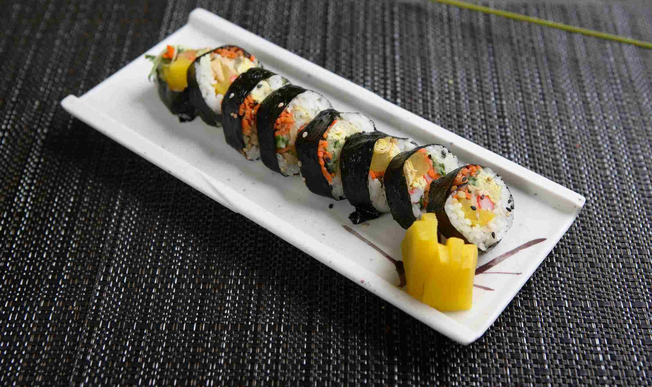 Kimbap rolls on dish