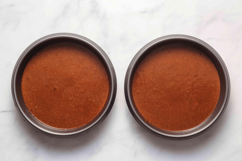 divide batter between two cake pans