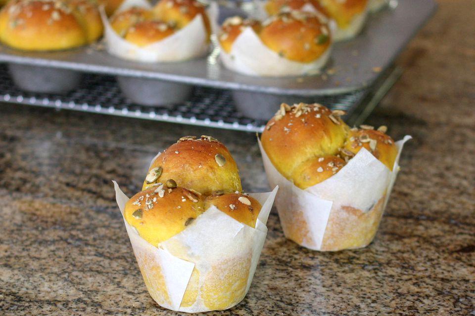 Pumpkin cloverleaf rolls.