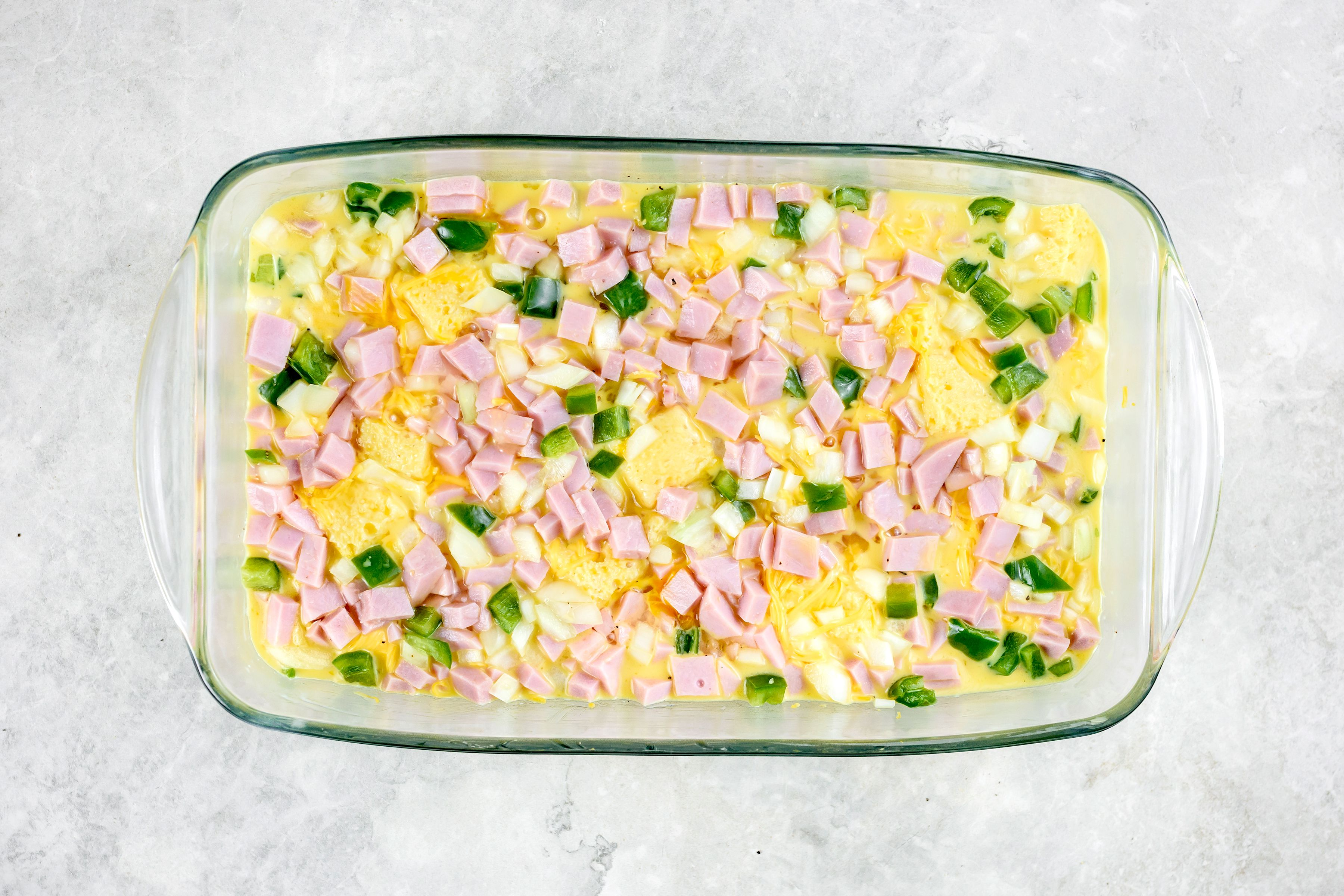Western ham and egg casserole in baking dish