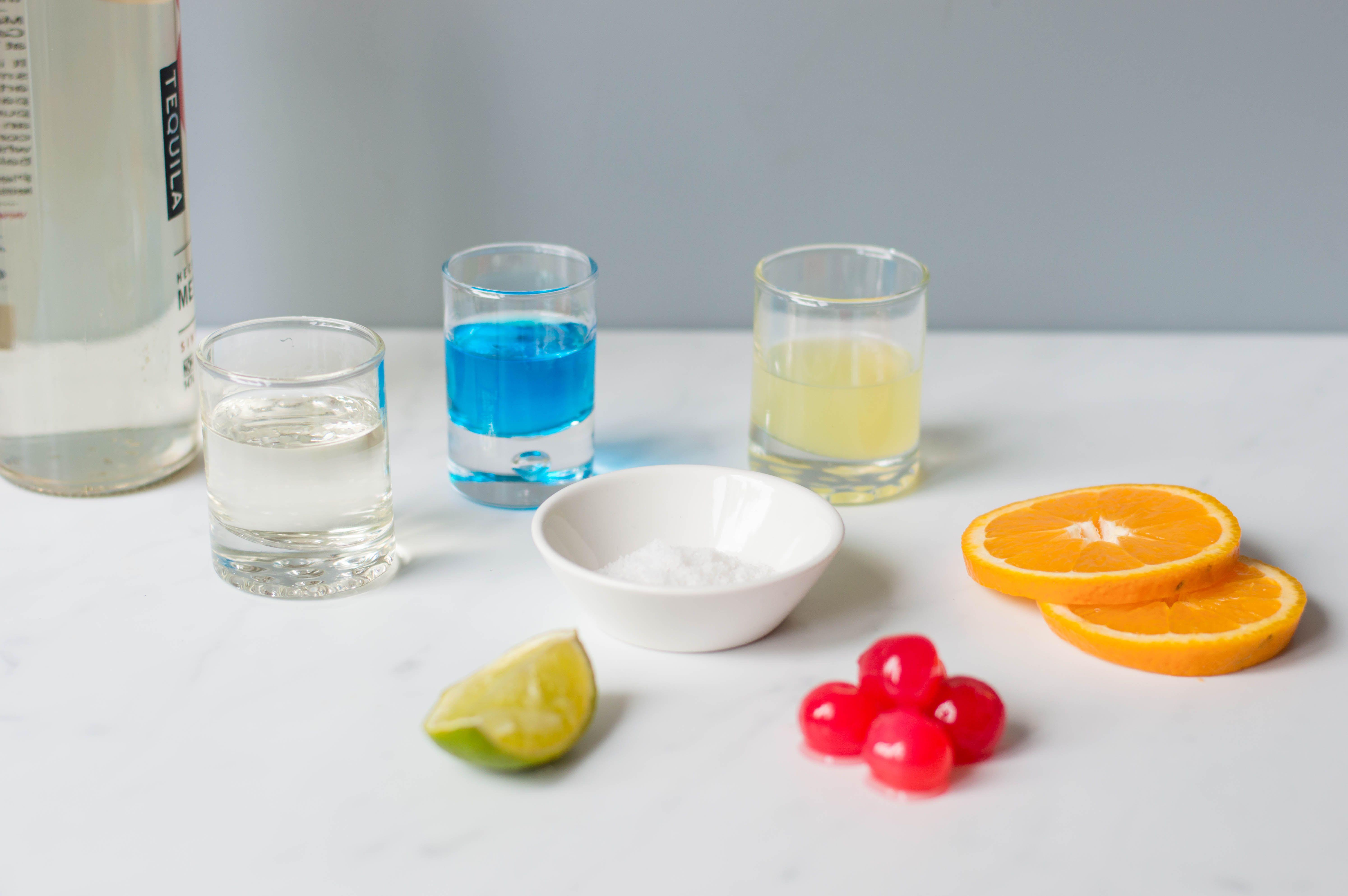 Ingredients to make a blue margarita
