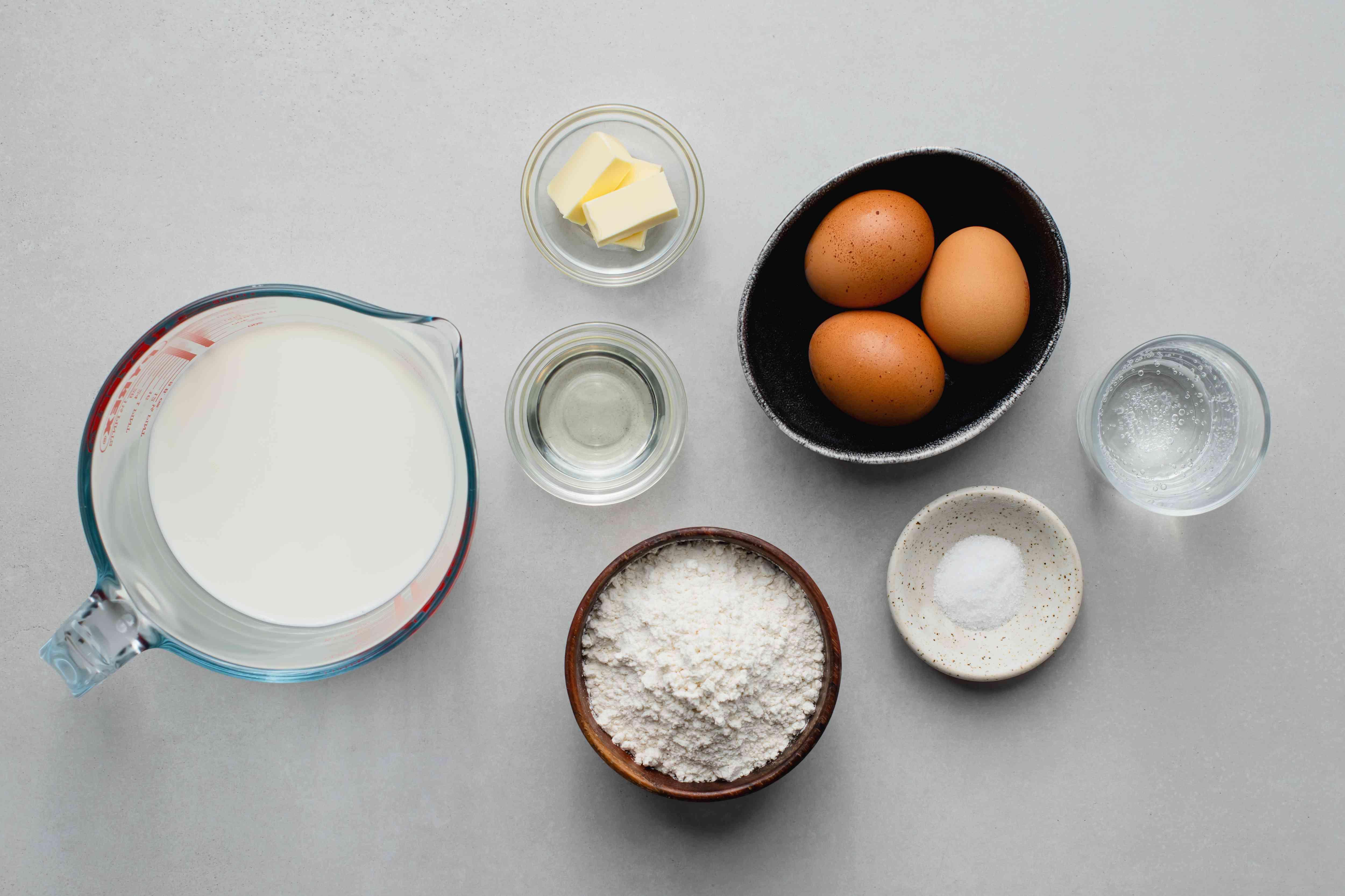 Palačinke (Croatian pancakes or crepes) ingredients