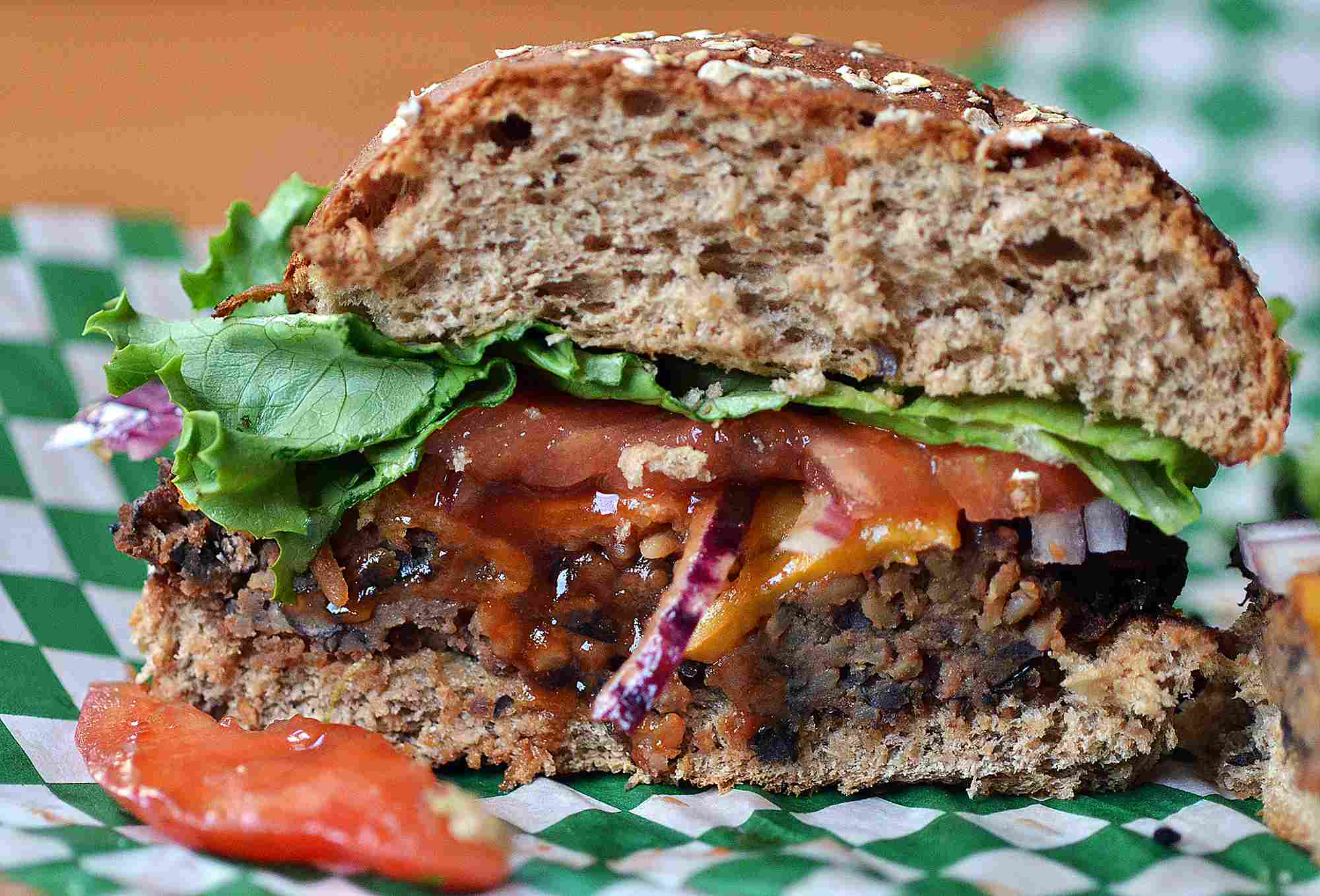 Black bean burger and salsa