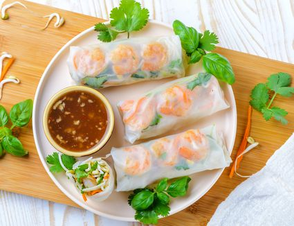 Thai fresh spring rolls (with vegetarian option) recipe on a plate