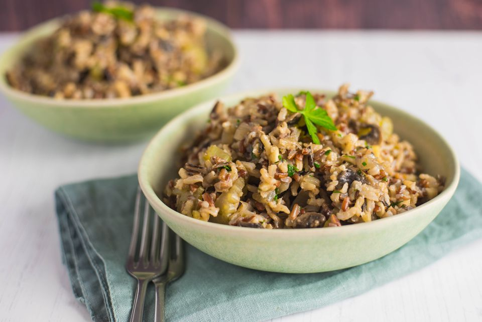 Vegetarian wild rice and mushroom pilaf