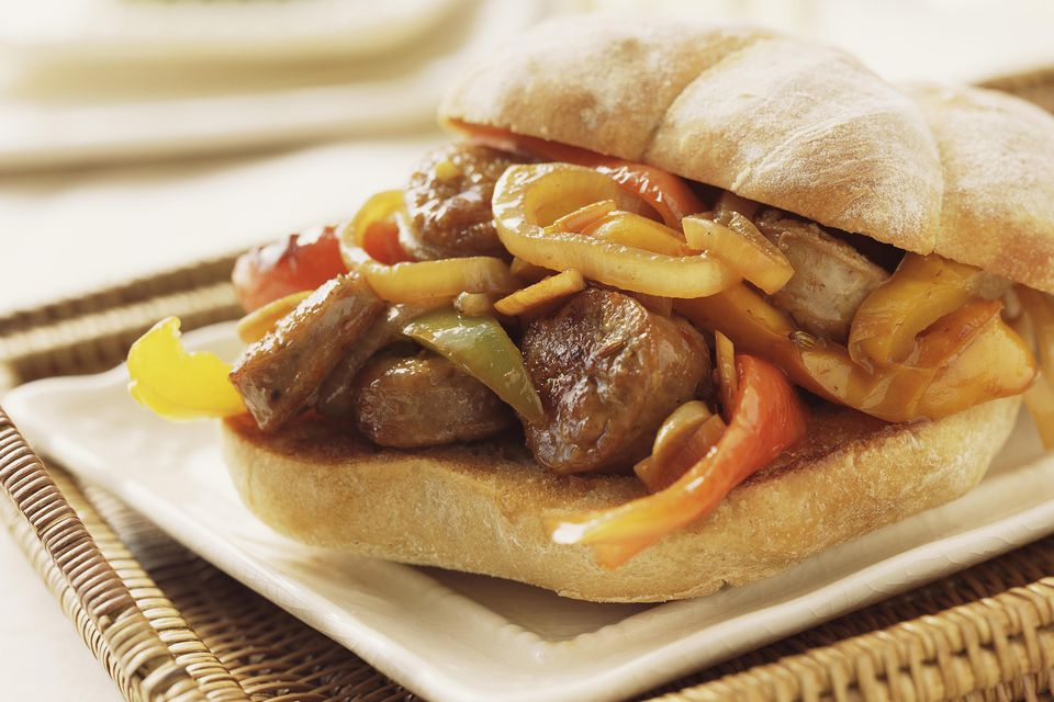 Sausage and bell pepper sandwich