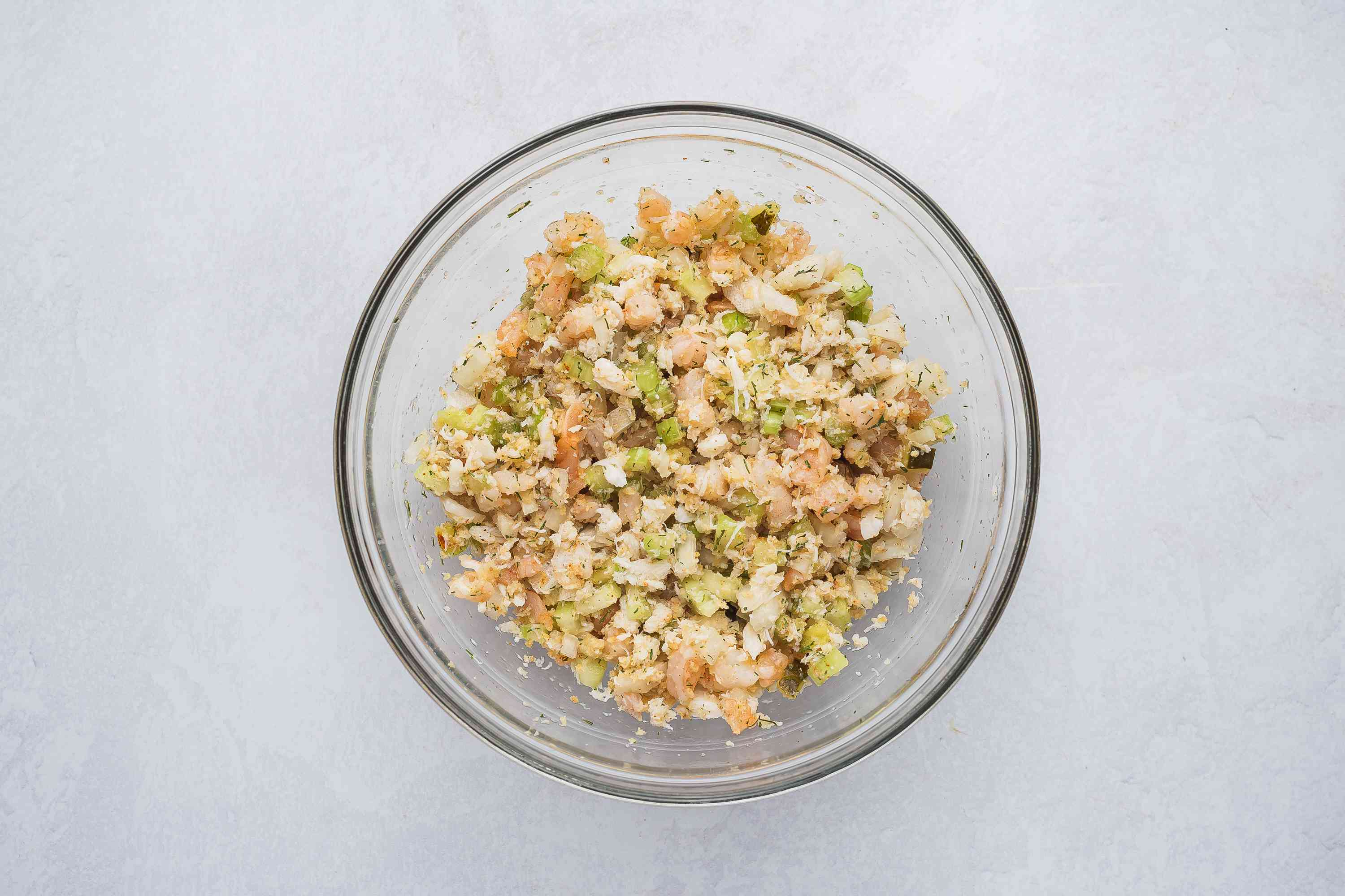 Crab and shrimp mixture in a bowl