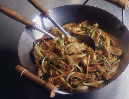 Chicken and vegetable stir-fry in wok
