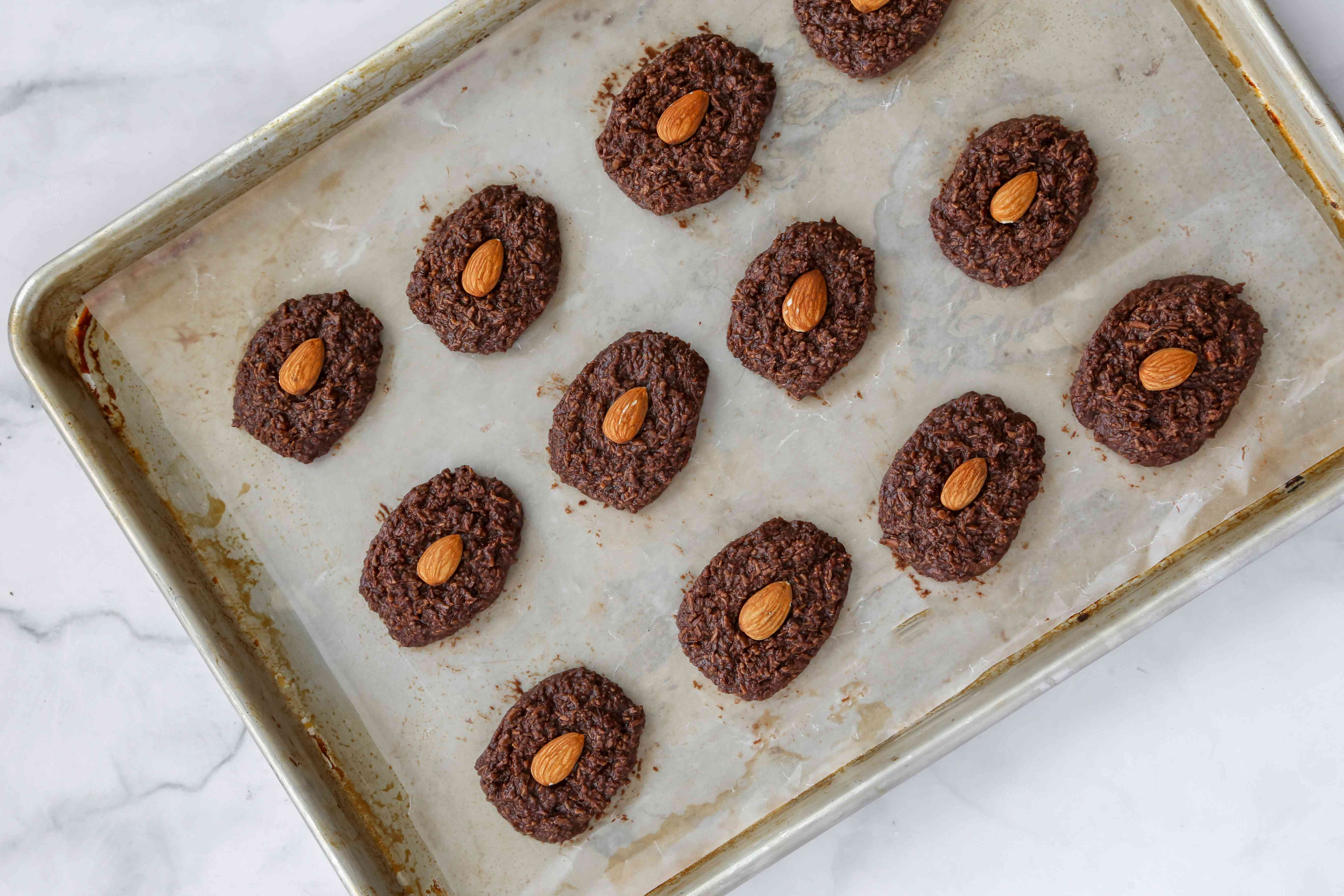 Chill the almond joy cookies on a baking sheet