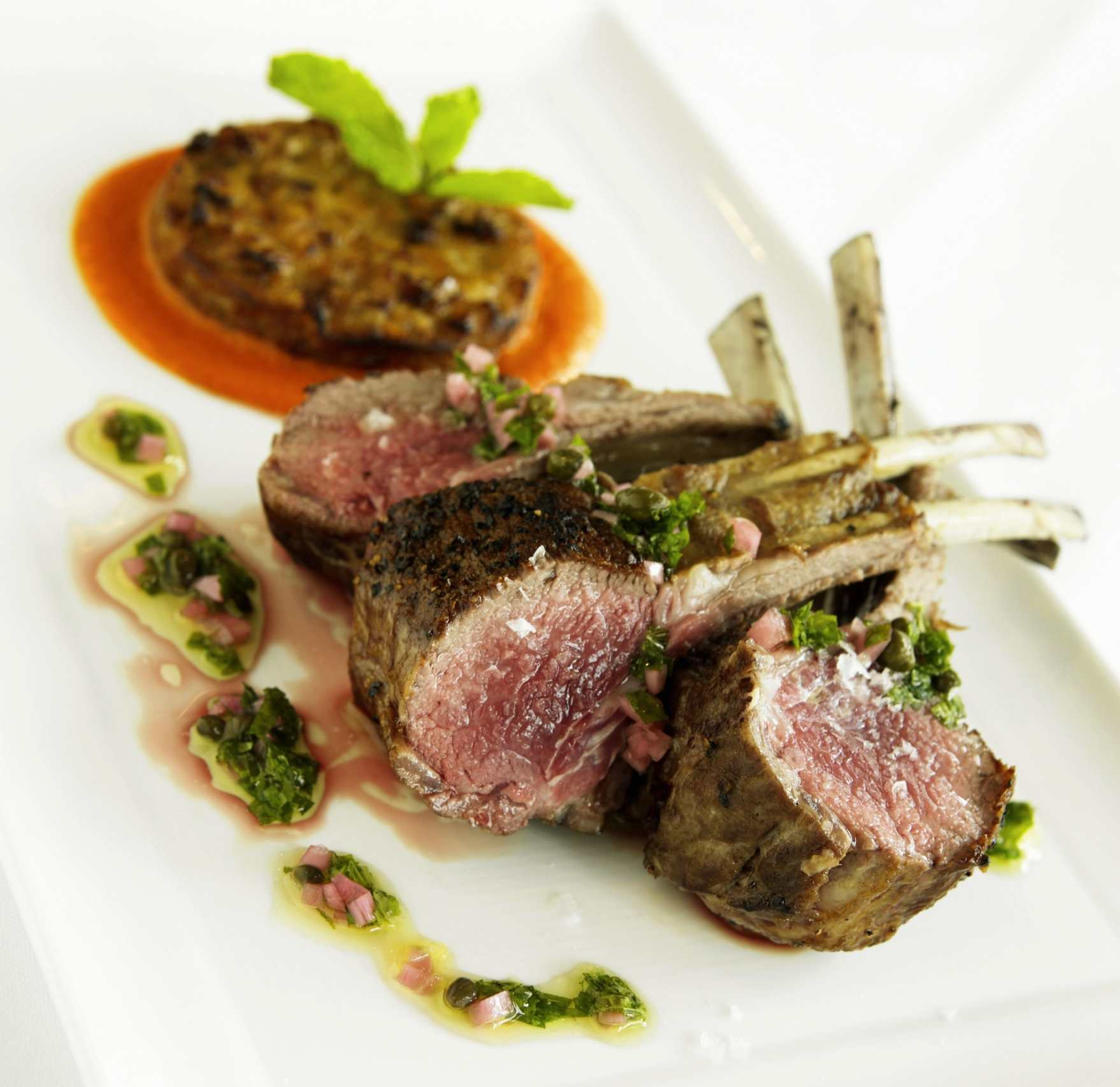 Rack of Lamb for Two with mint and caper sauce