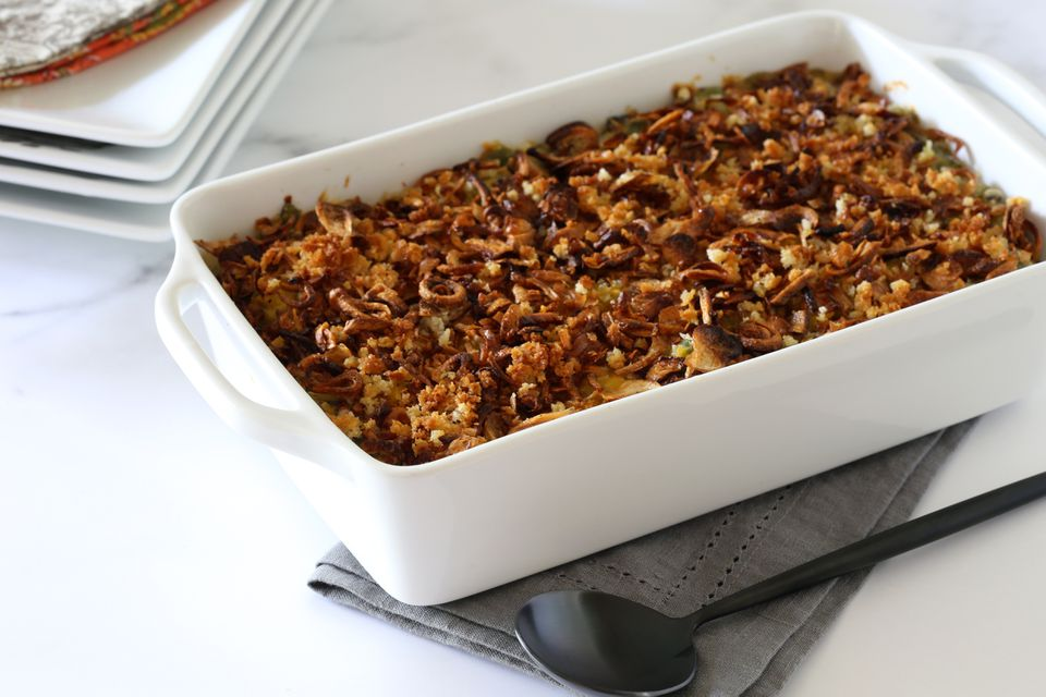 Instant Pot green bean casserole in a baking dish