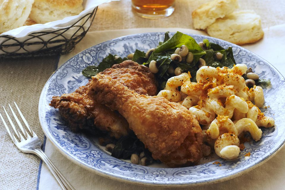 Fried chicken, mac and cheese, collard greens with black eyed peas, biscuits, and sweet tea