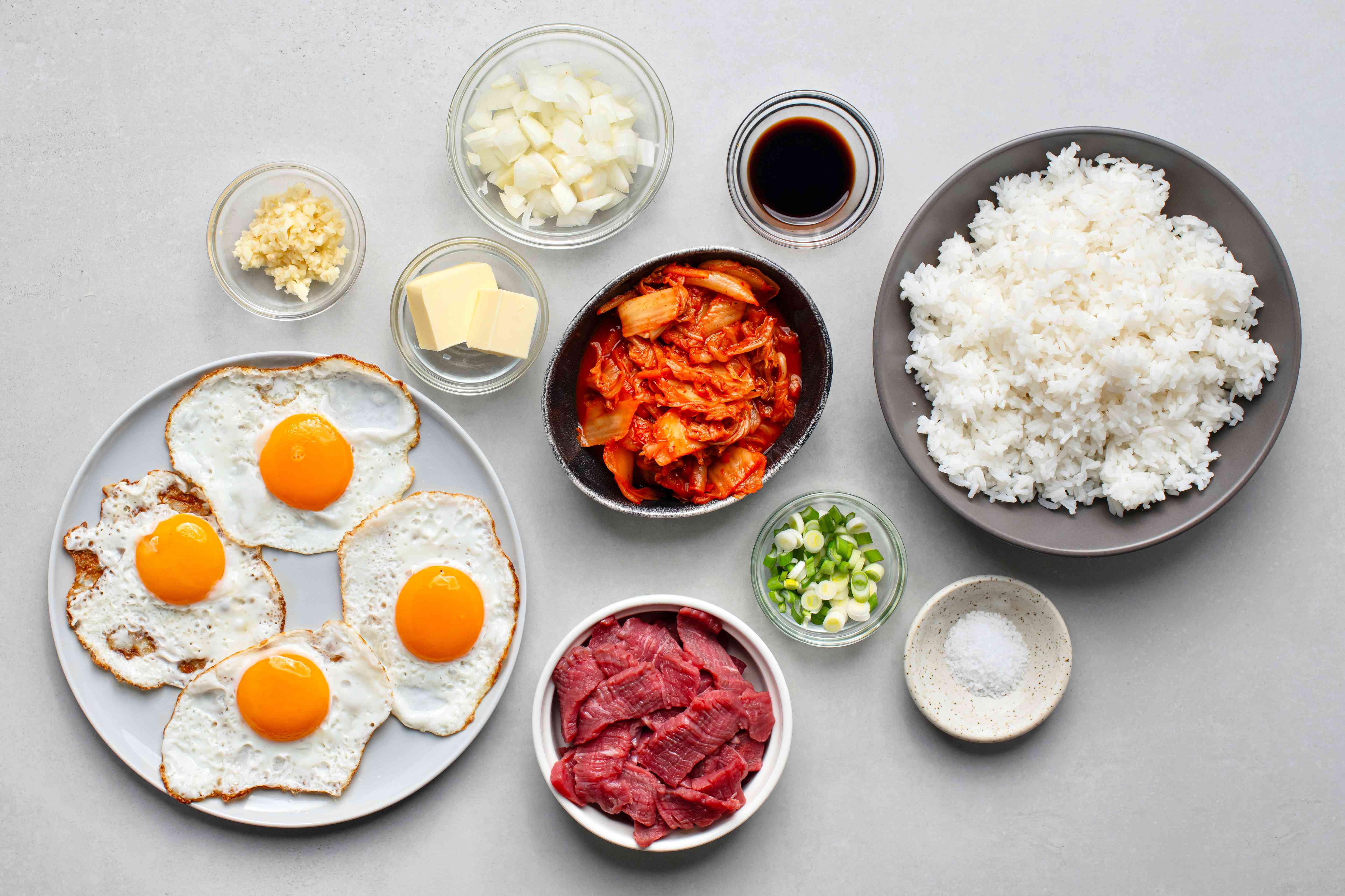 Gather ingredients for kimchi fried rice