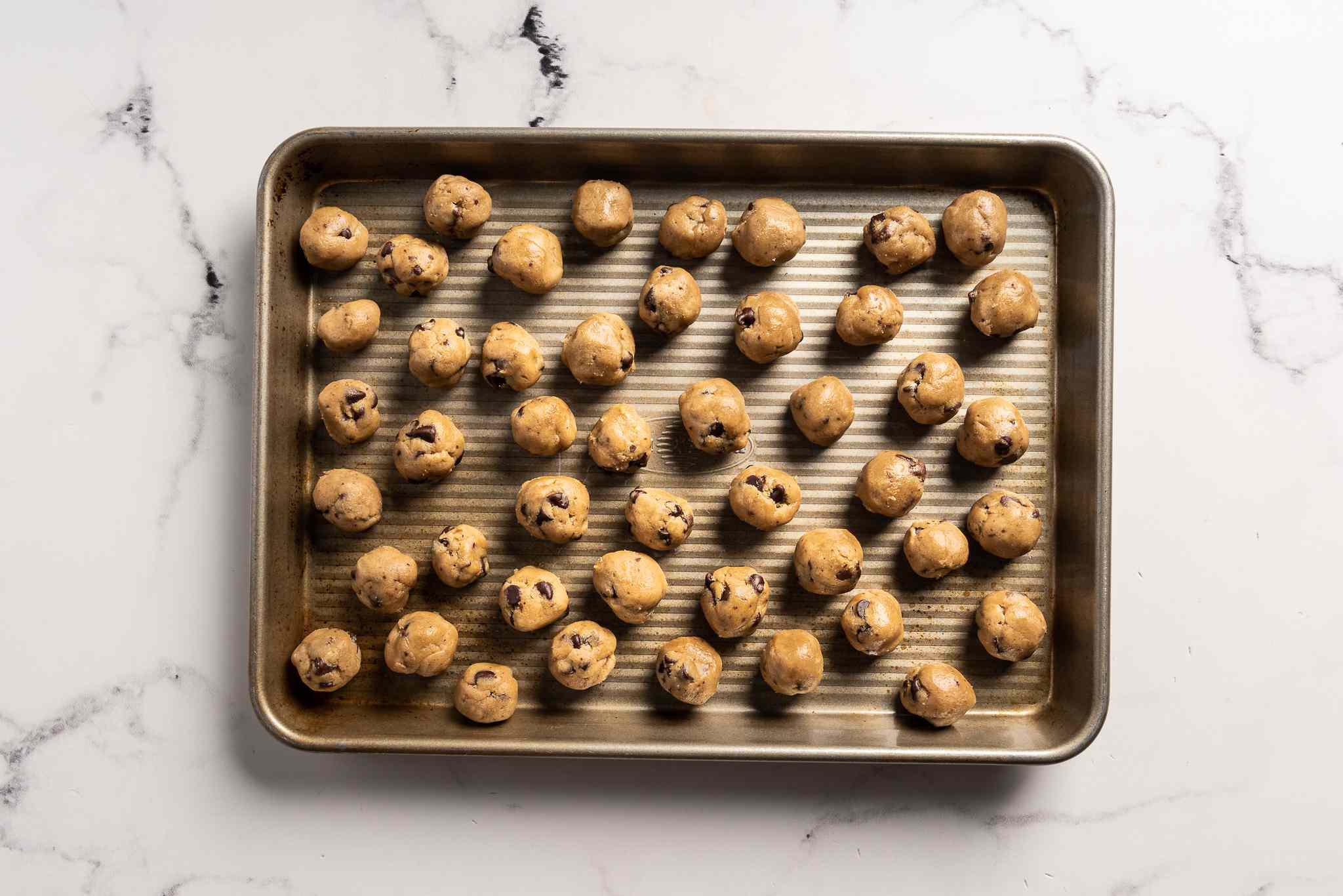 Pan with cookie dough balls