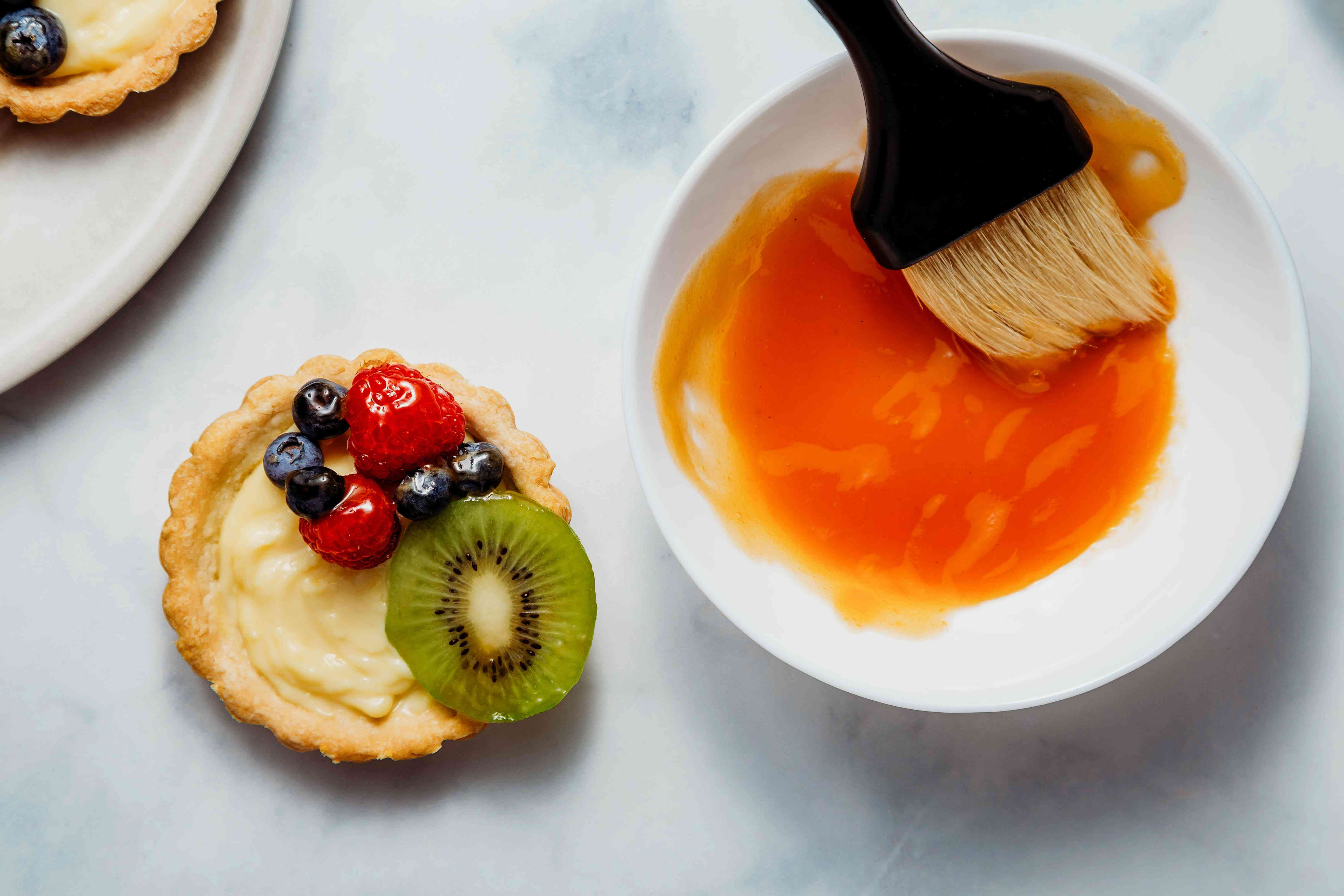 brush the fruit on each tart with the apricot glaze