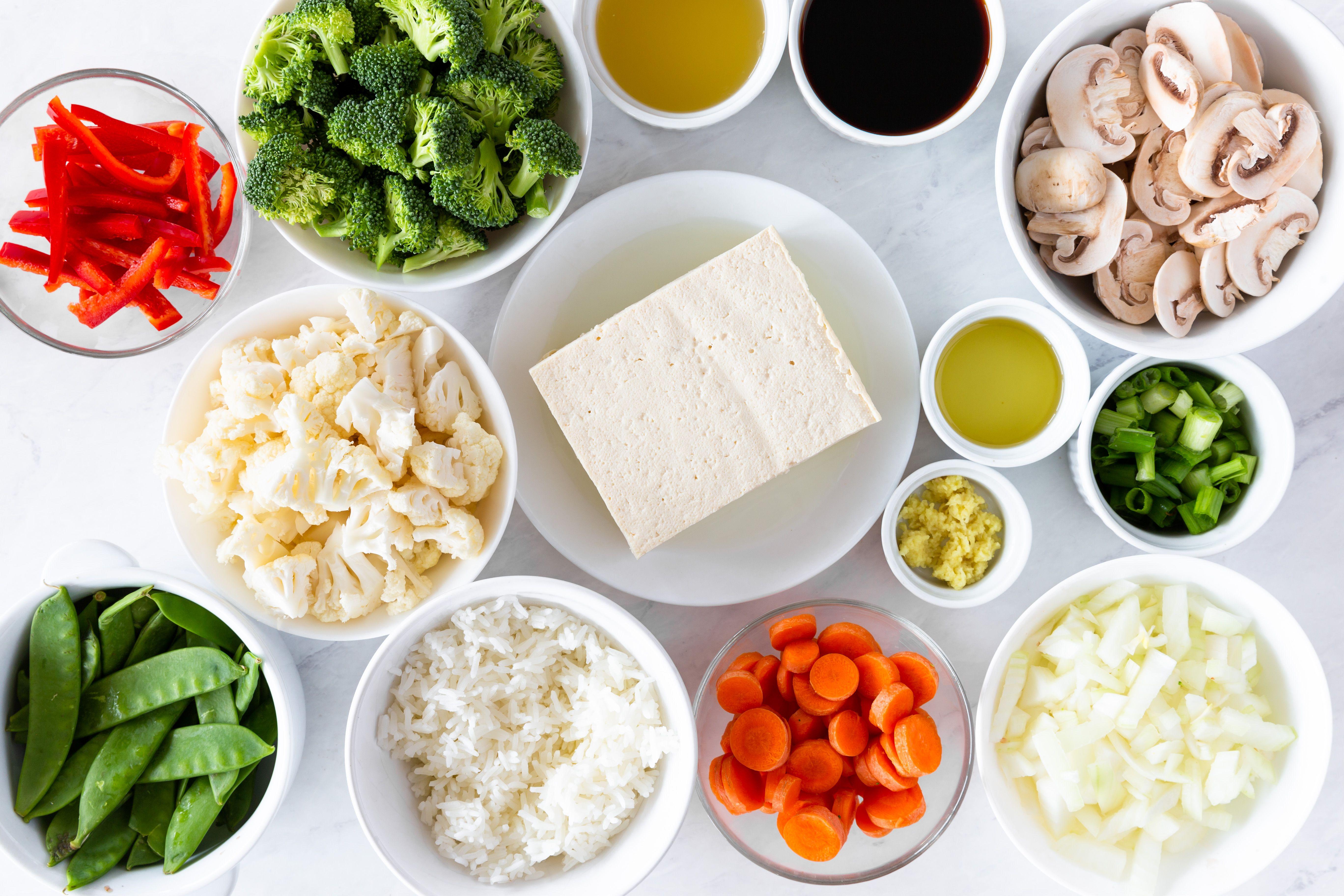 Ingredients for tofu veggie stir fry