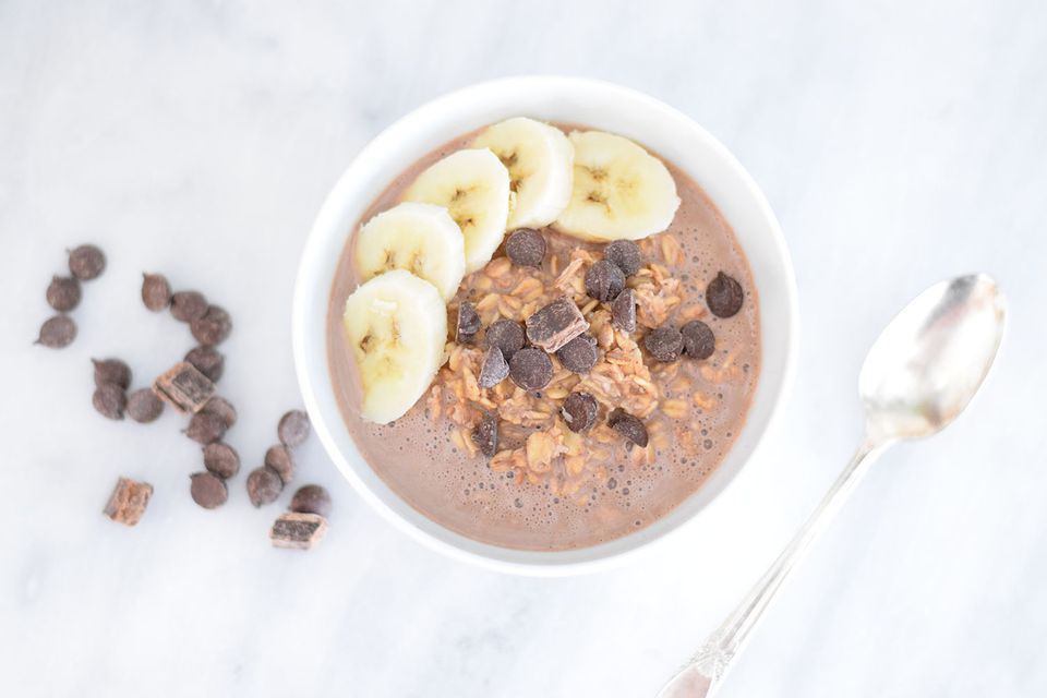 Chocolate covered banana overnight oats