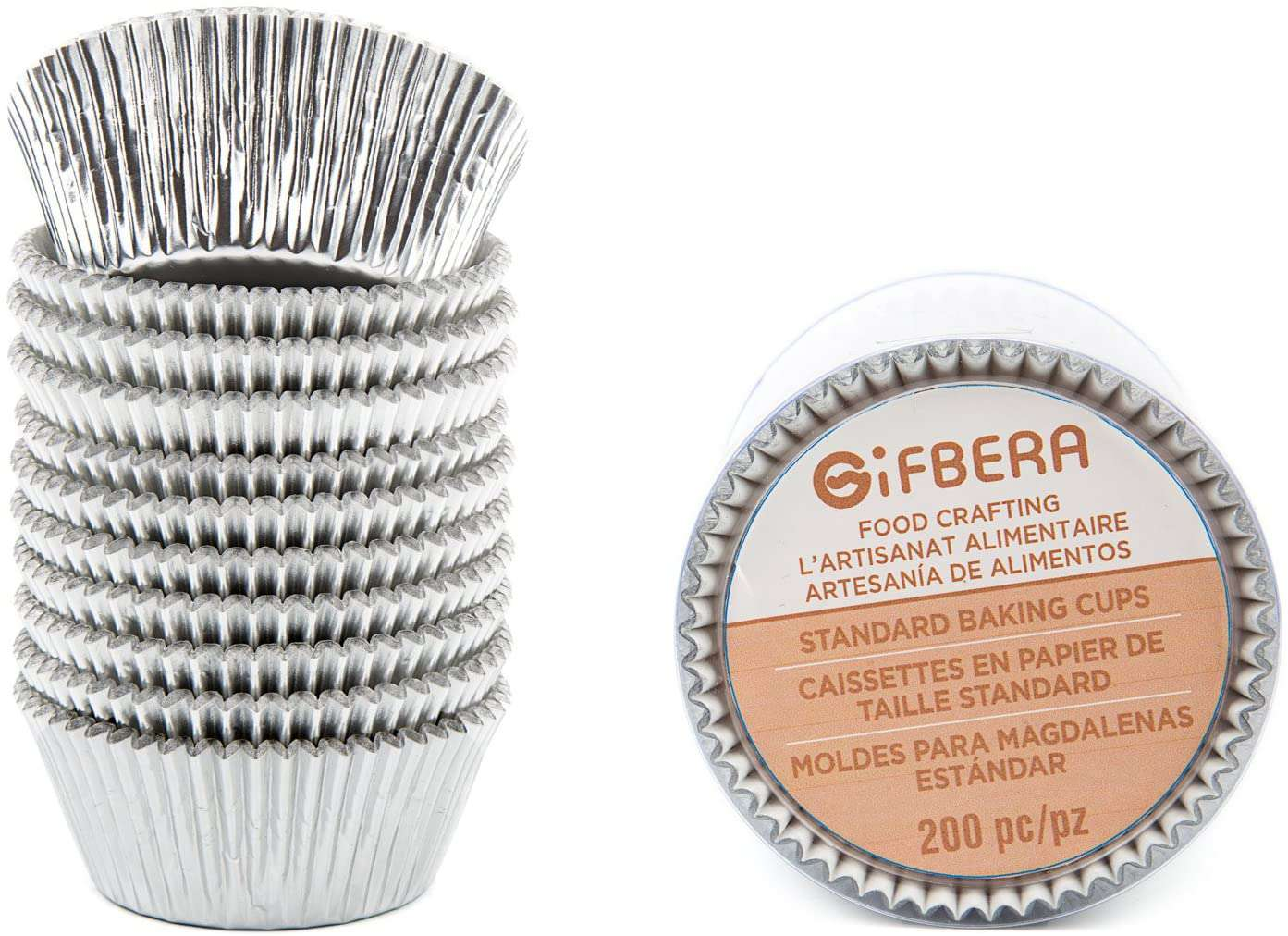 Gifbera Standard Silver Foil Cupcake Liners