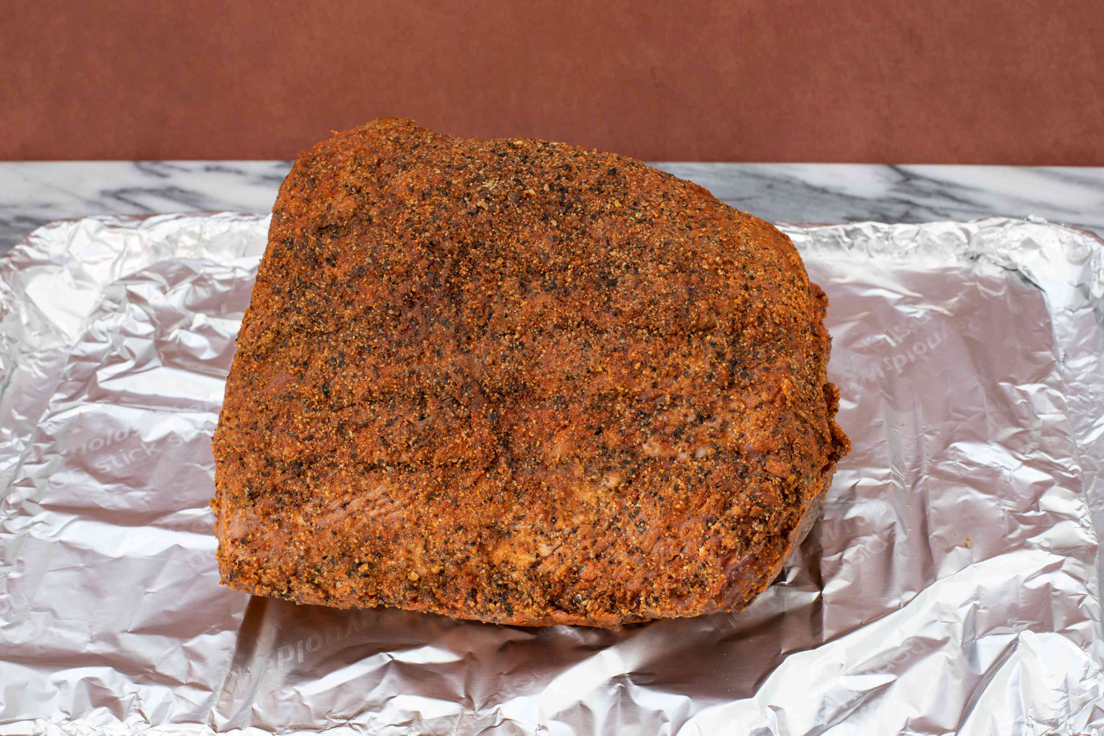 homemade pastrami with spice coating.