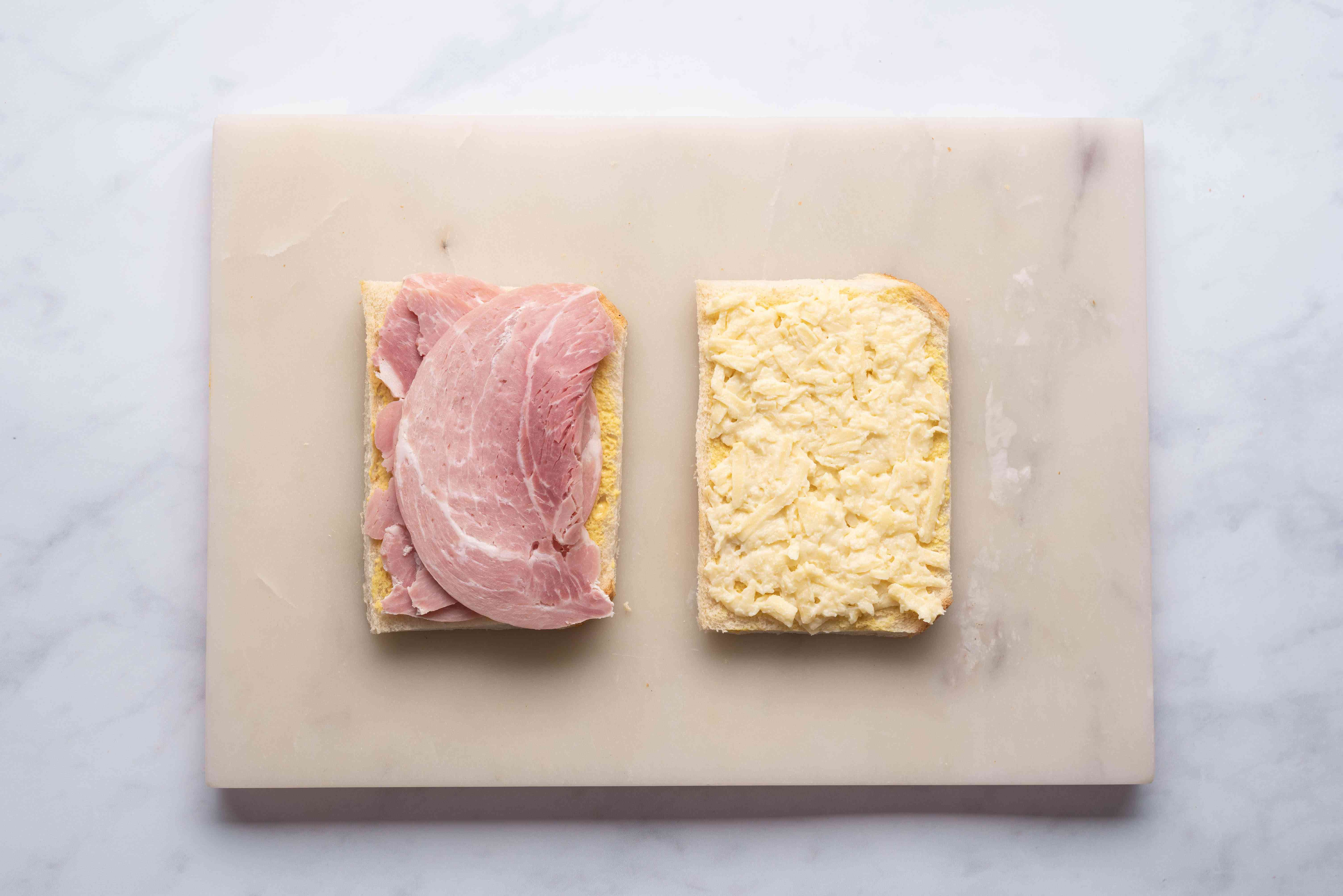 ham and cheese on top of slices of bread