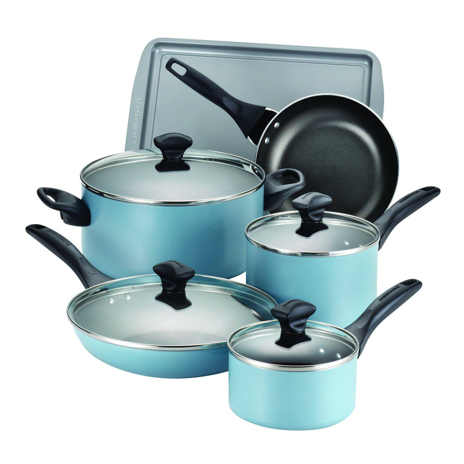 Farberware 15 Piece Dishwasher Safe Nonstick Cookware Set Aqua
