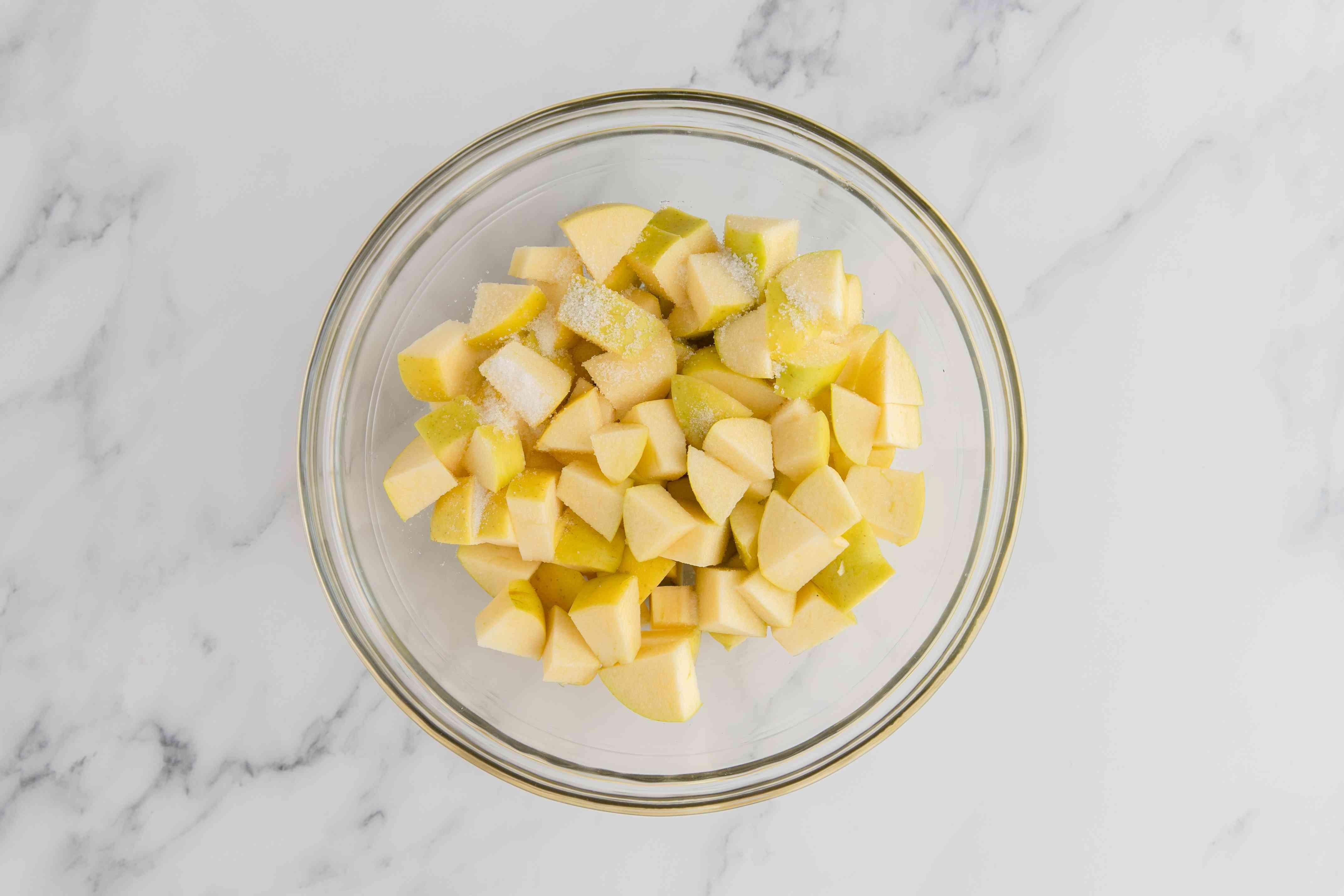 Sprinkle cubed apples