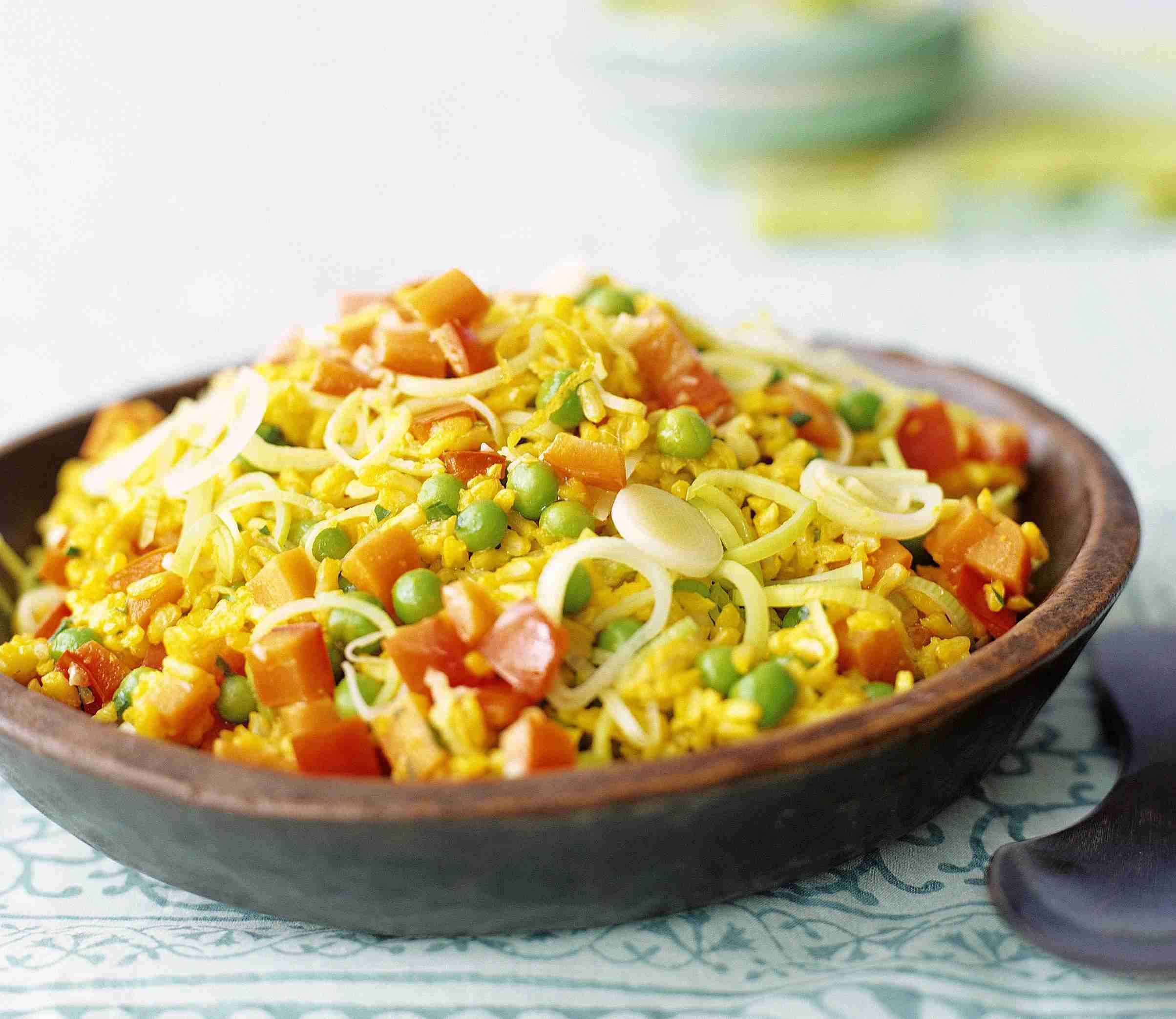 saffron rice pilaf with vegetables