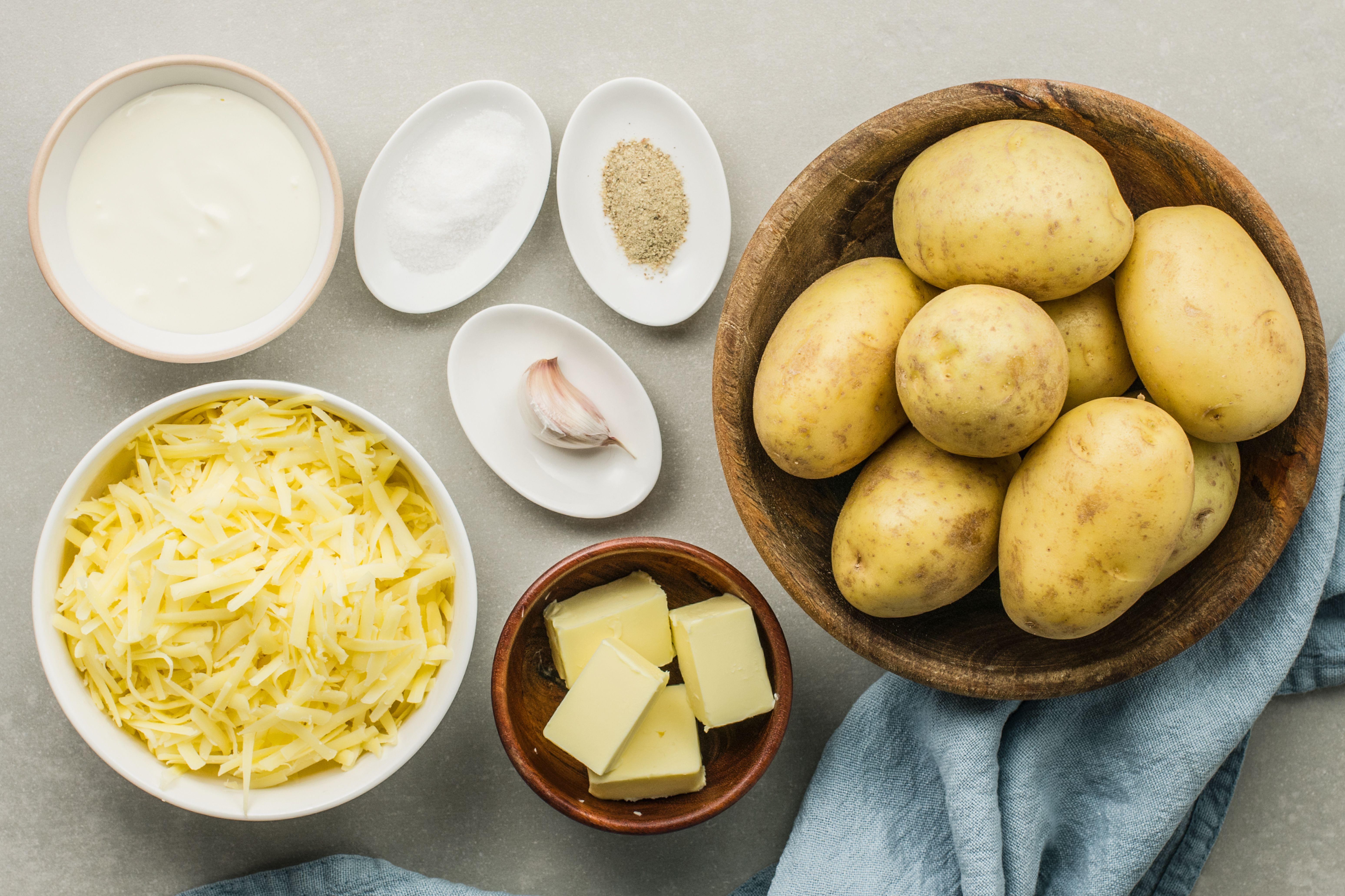 Classic French aligot ingredients