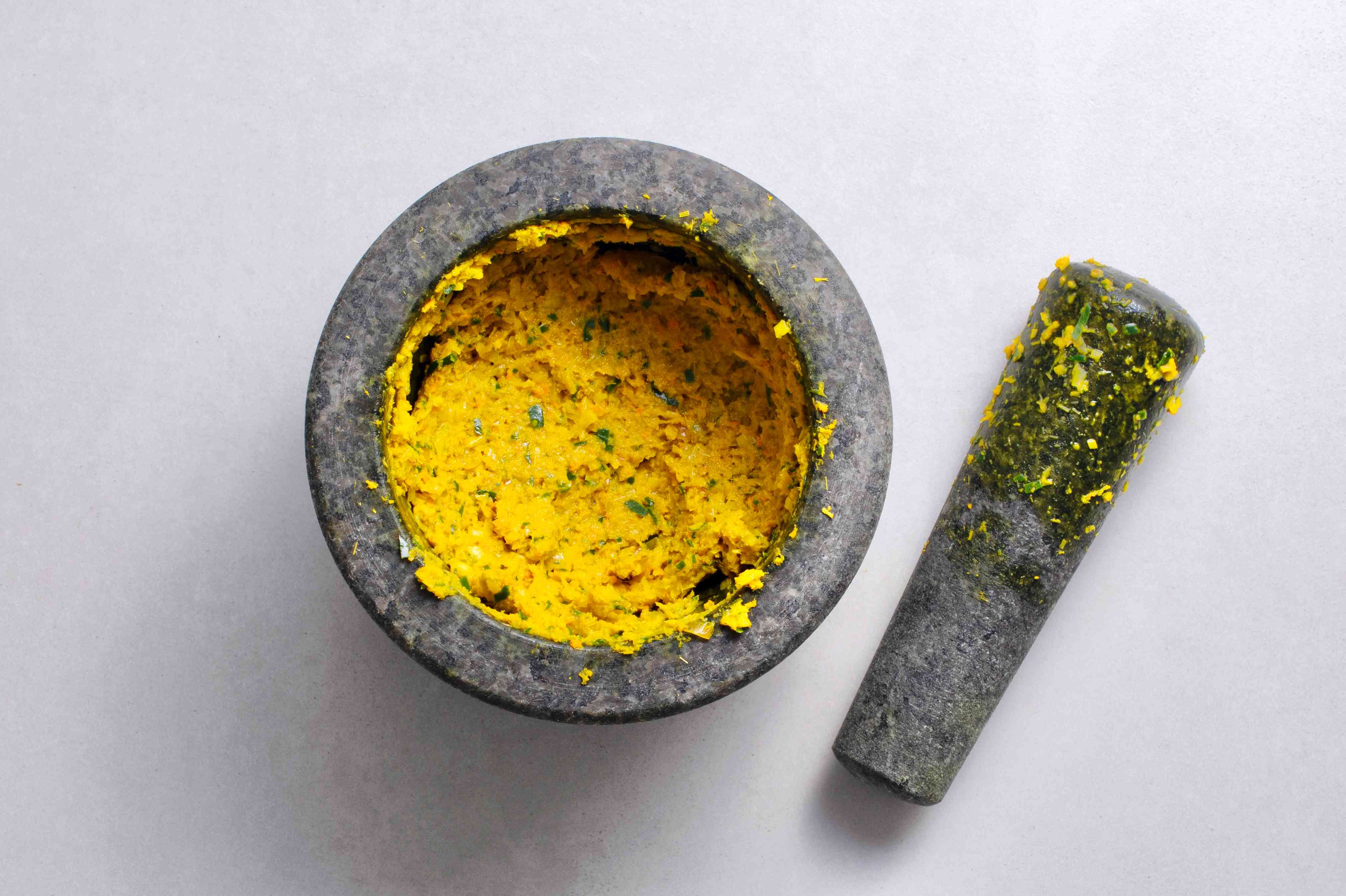 Kroeung: Cambodian Marinade and Spice Paste in a mortar and pestle