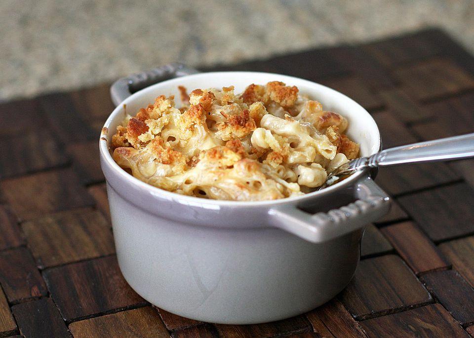 Classic mac and cheese in a ramekin
