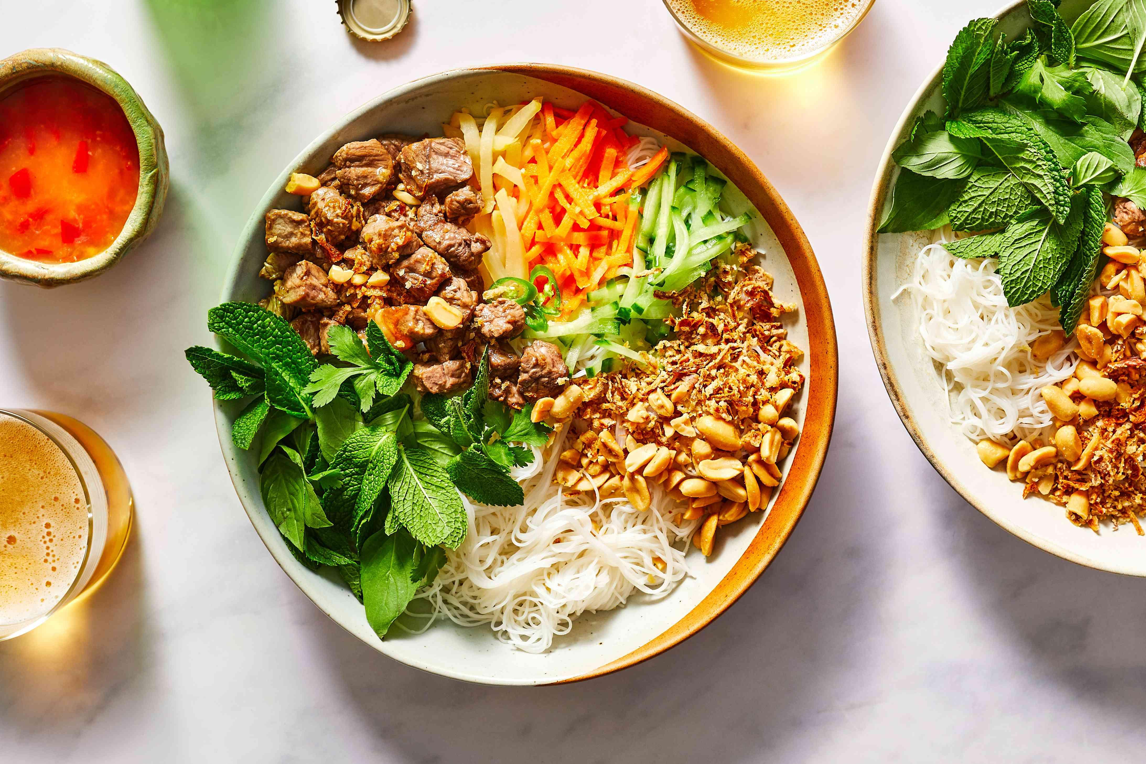 Vietnamese Noodle Salad With Lemongrass Beef (Bun Bo Xao)