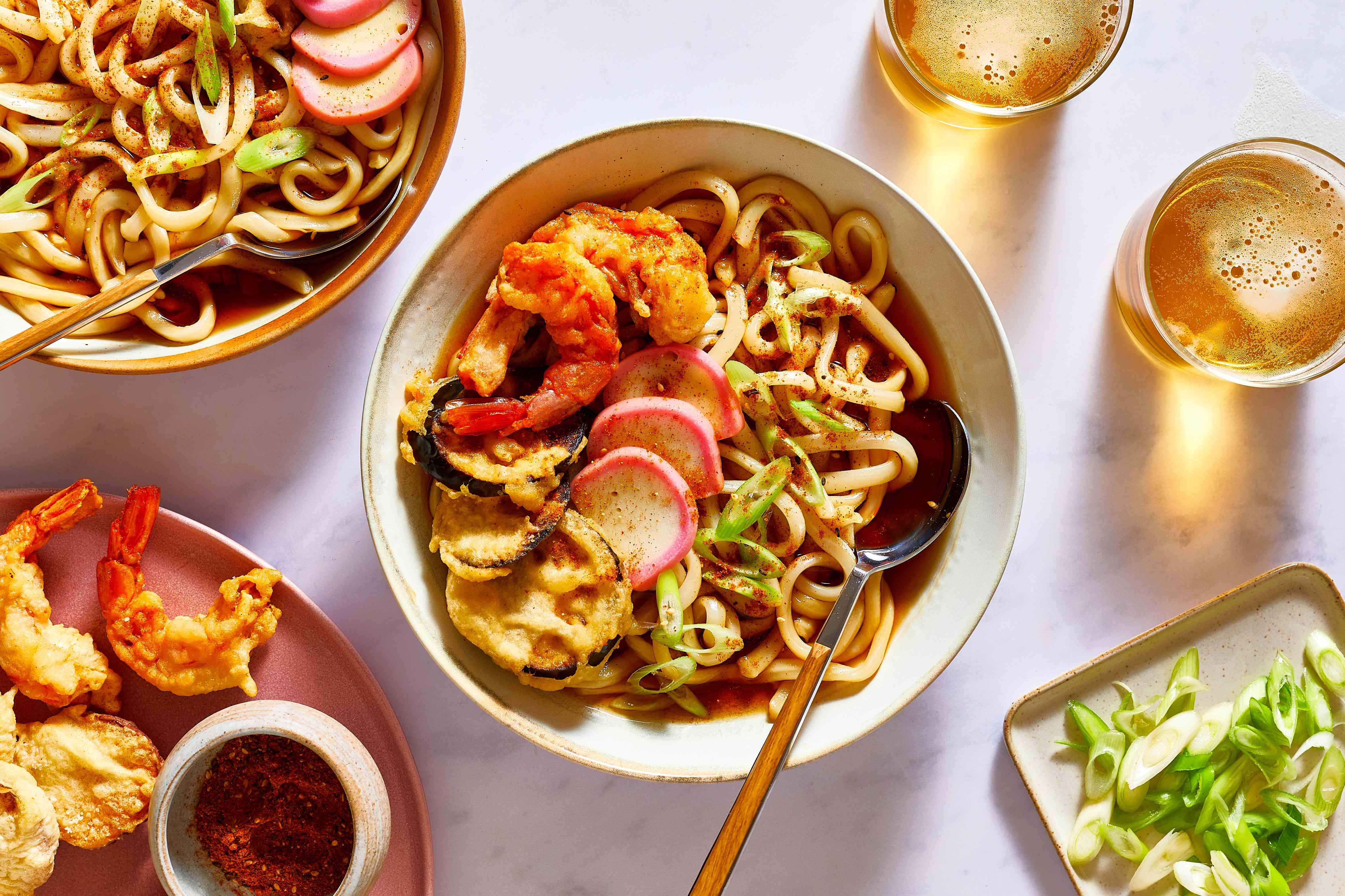 Tempura Udon served in a bowl