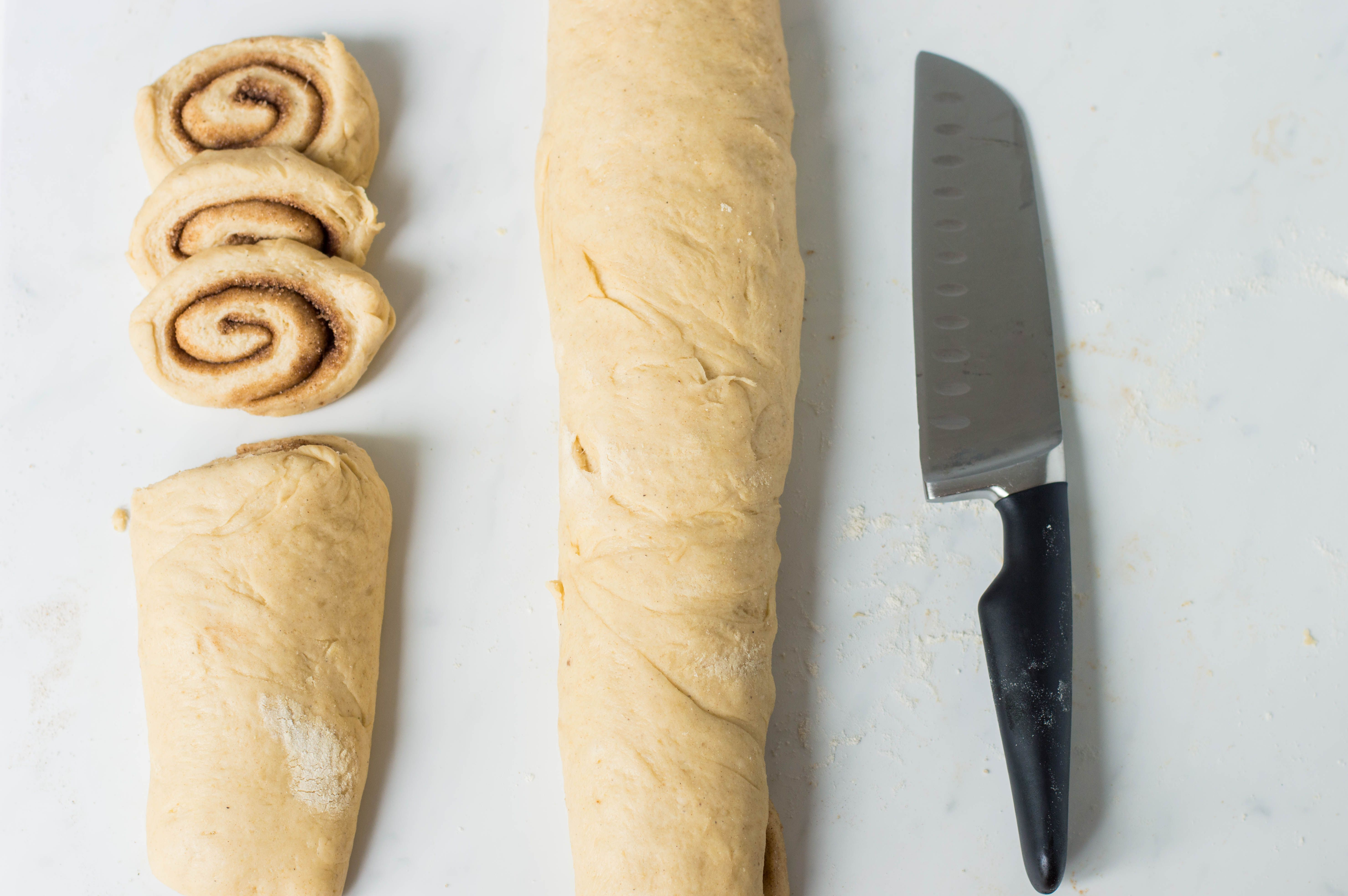 Cutting dough into rounds