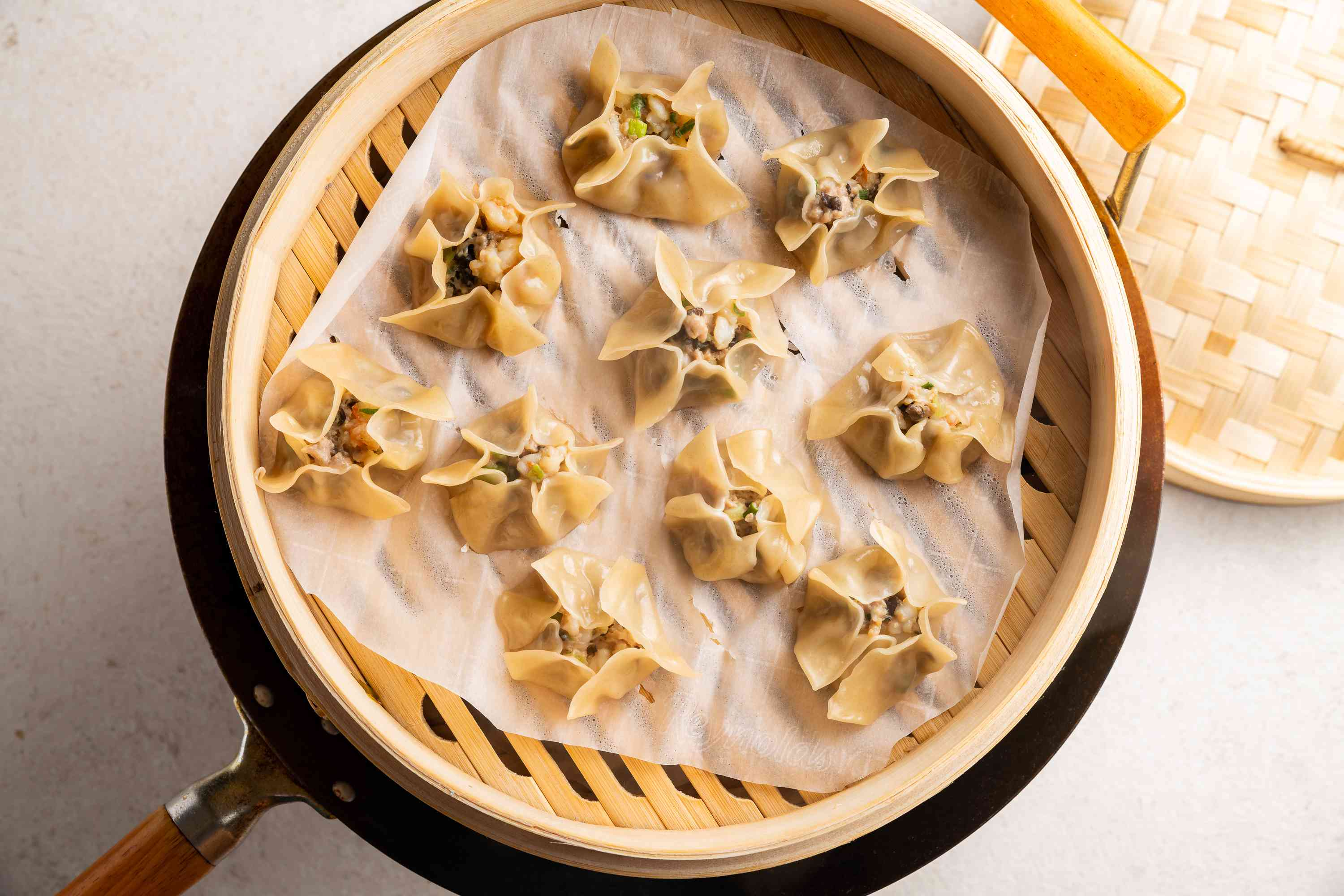 Steam the dumplings over boiling water