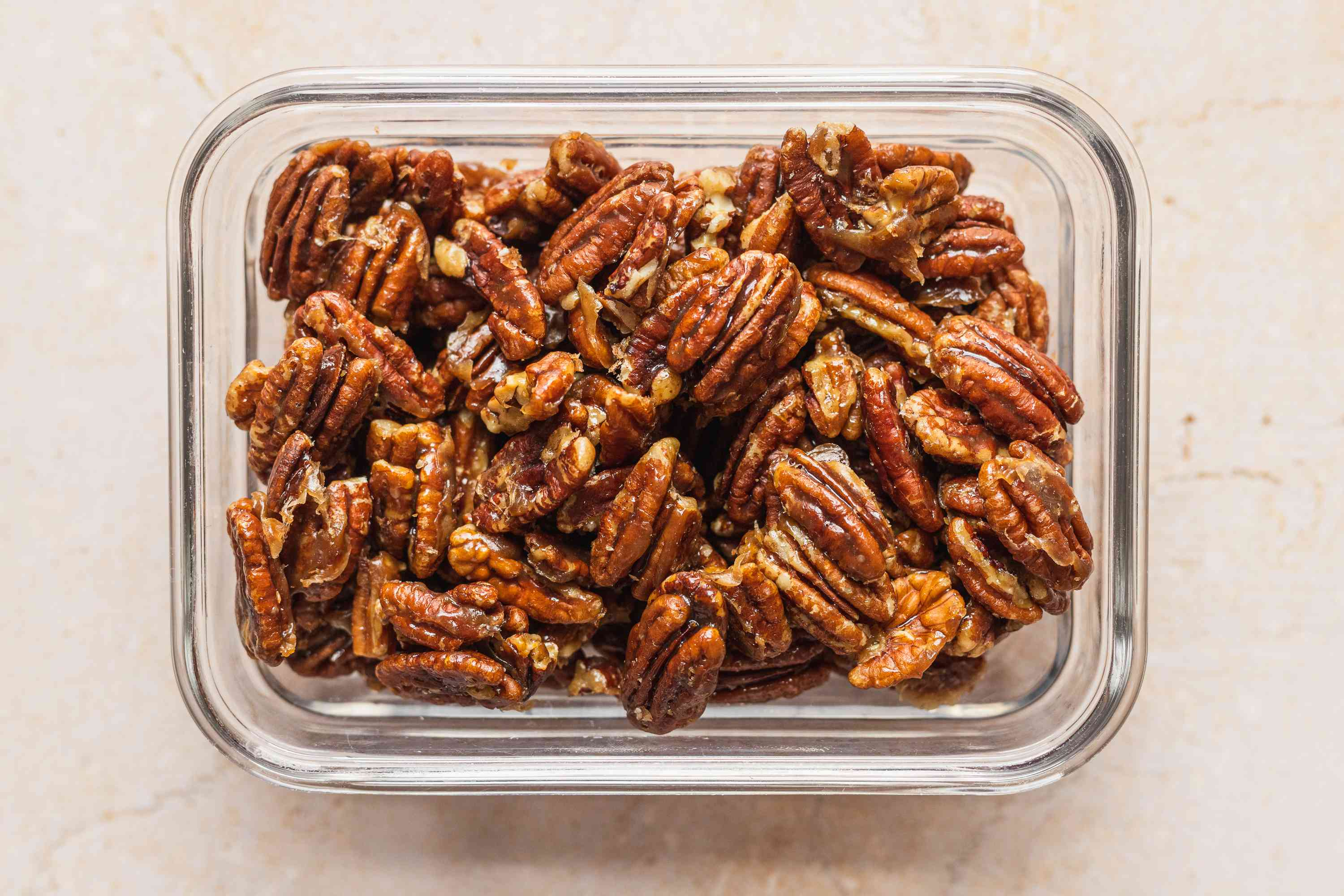Easy Candied Pecans in a container