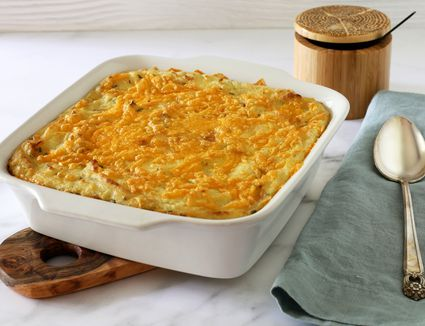 potato casserole with sour cream and cheddar cheese