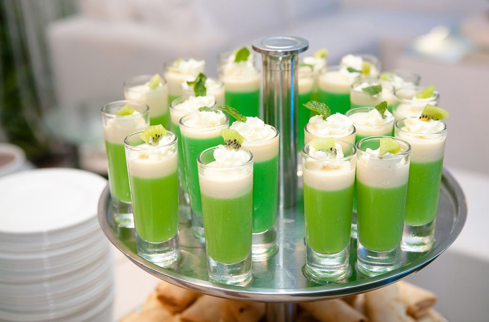 Melon Ball Shooters with Cream and Pineapple