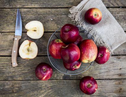 Apples on wood table