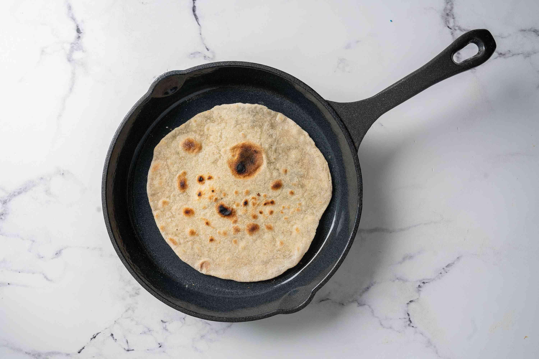 Flour Tortilla cooking in a pan
