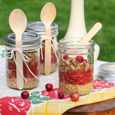 Easy healthy raw vegan dessert recipes with photos a beautiful and fresh raw food pie layered in a jar made with a buckwheat crust a cranberry and pear filling spiced with cinnamon and all spice and topped forumfinder Gallery