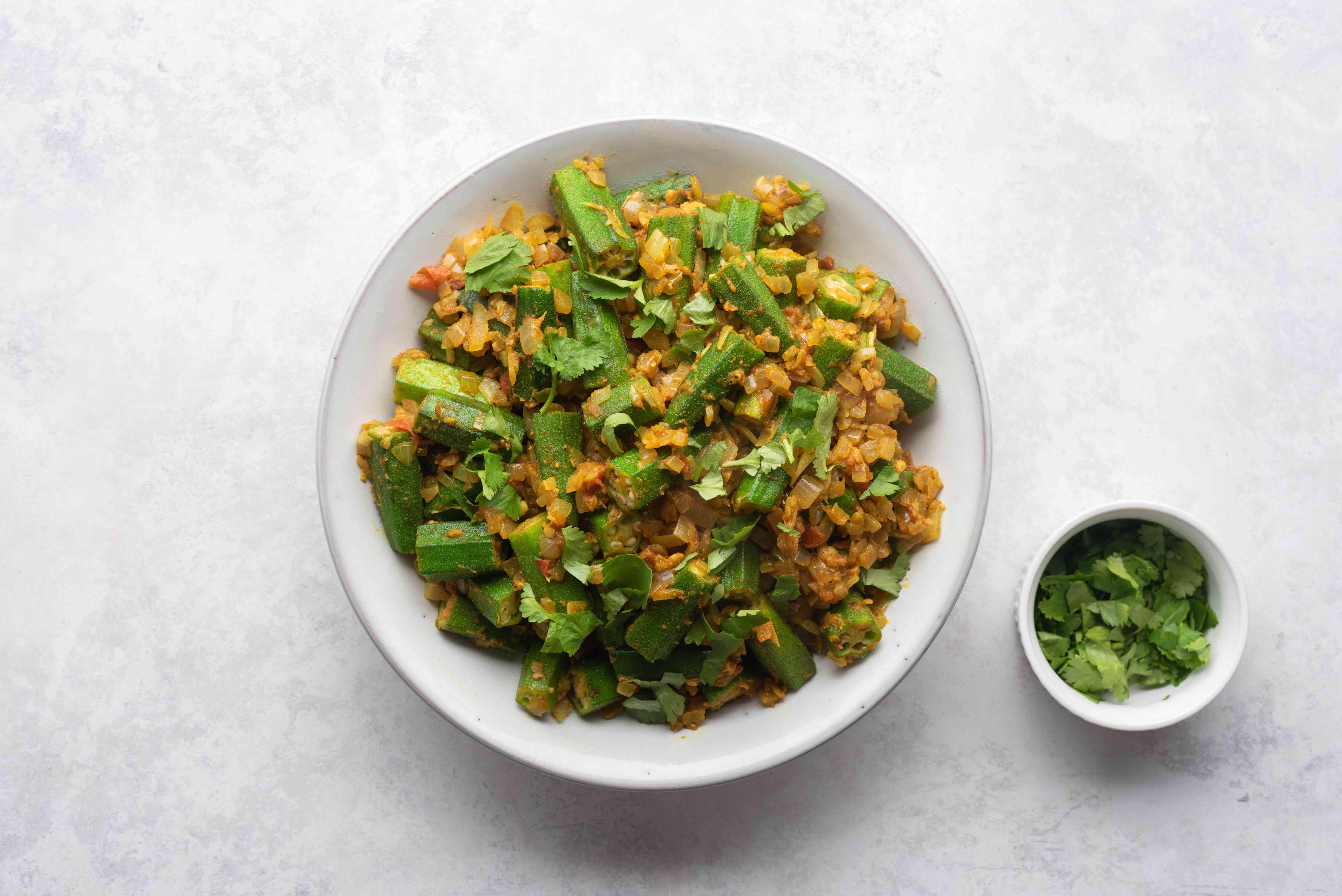Bhindi Dopiaza - Okra Dopiaza in a bowl