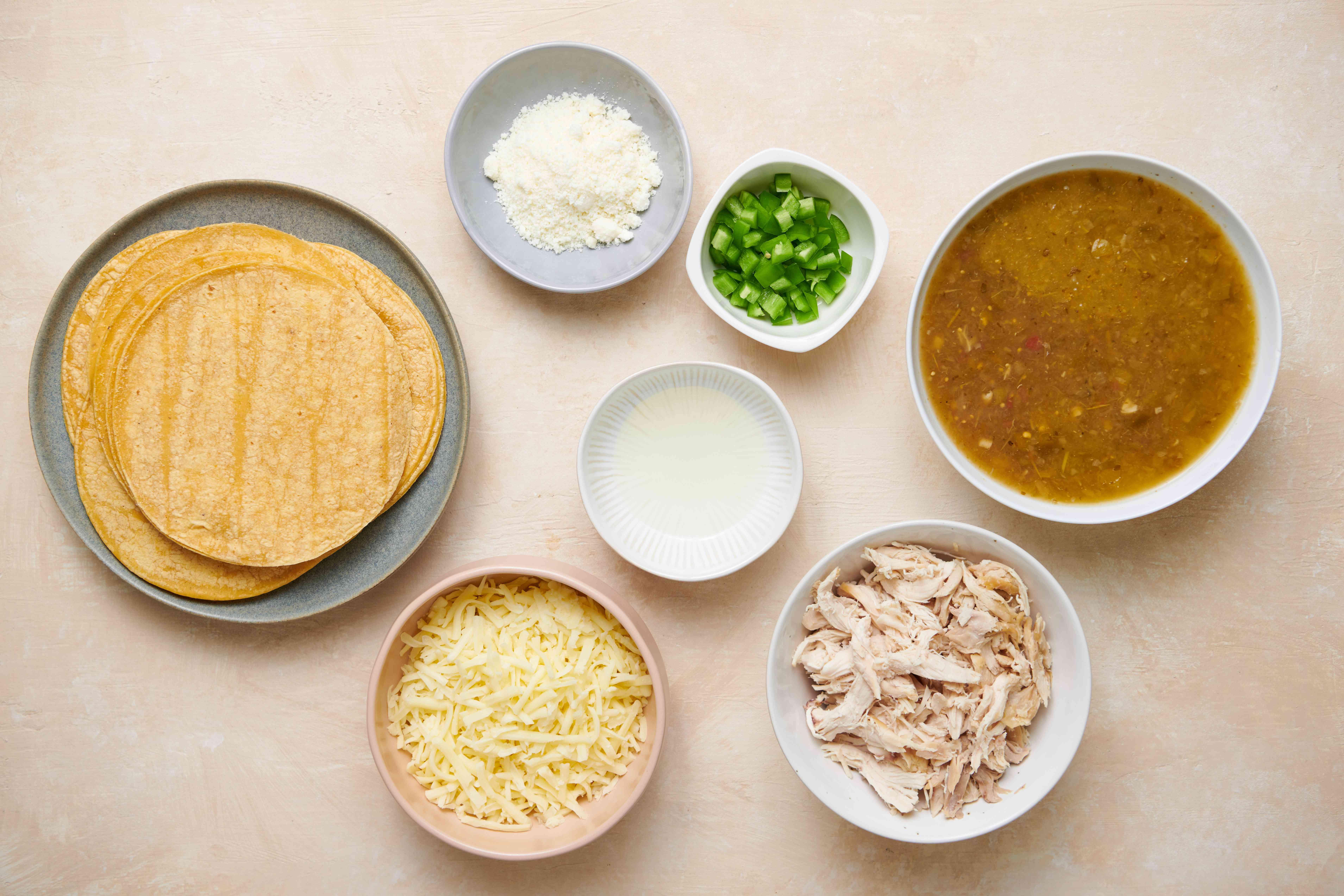 Ingredients for enchiladas verde with chicken