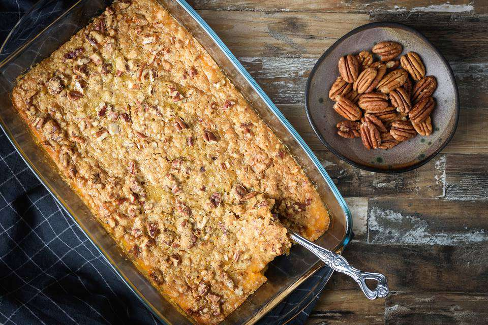 Easy Sweet Potato Casserole With Brown Sugar Pecan Topping