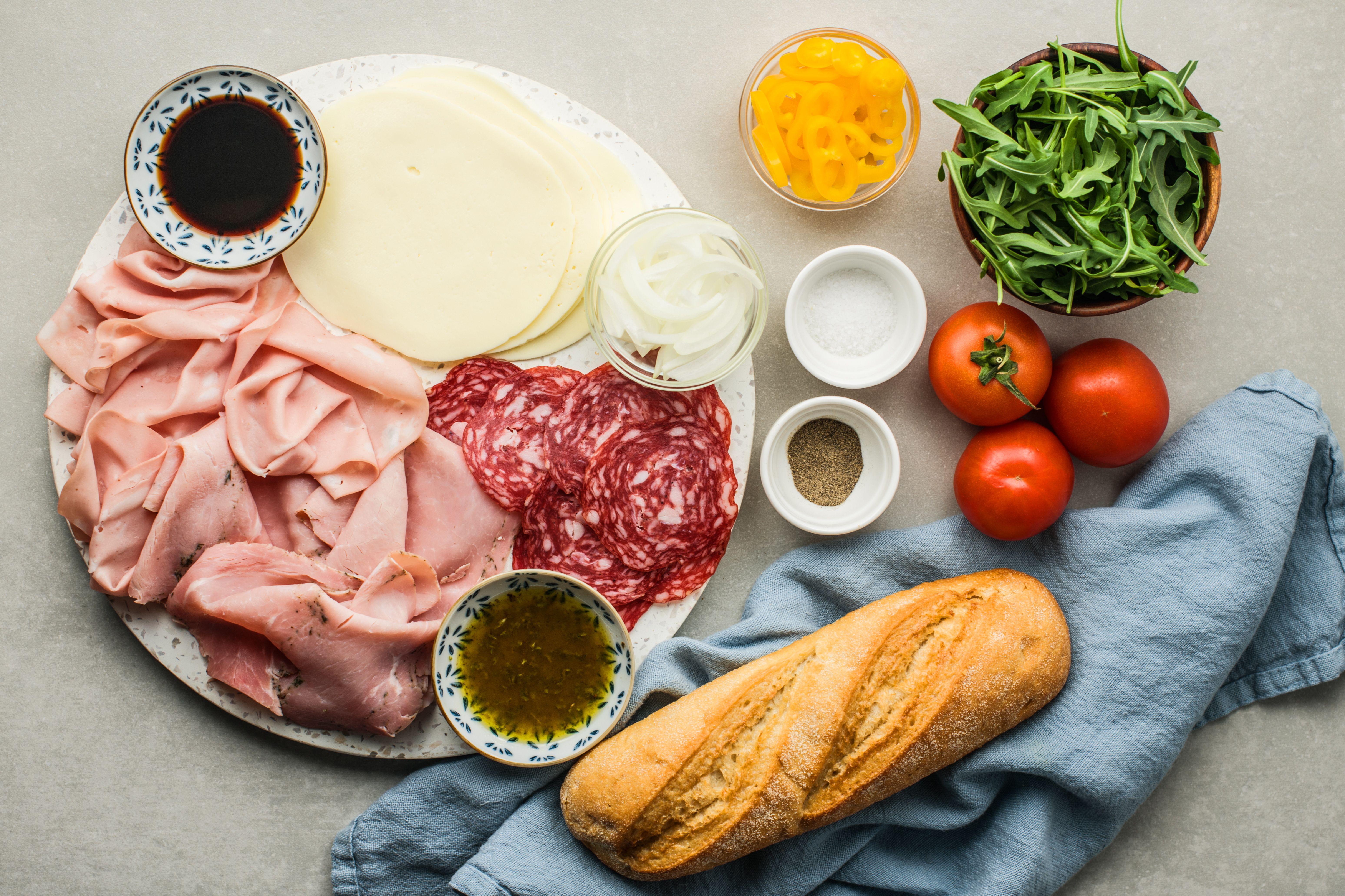 Ingredients for classic Italian sub