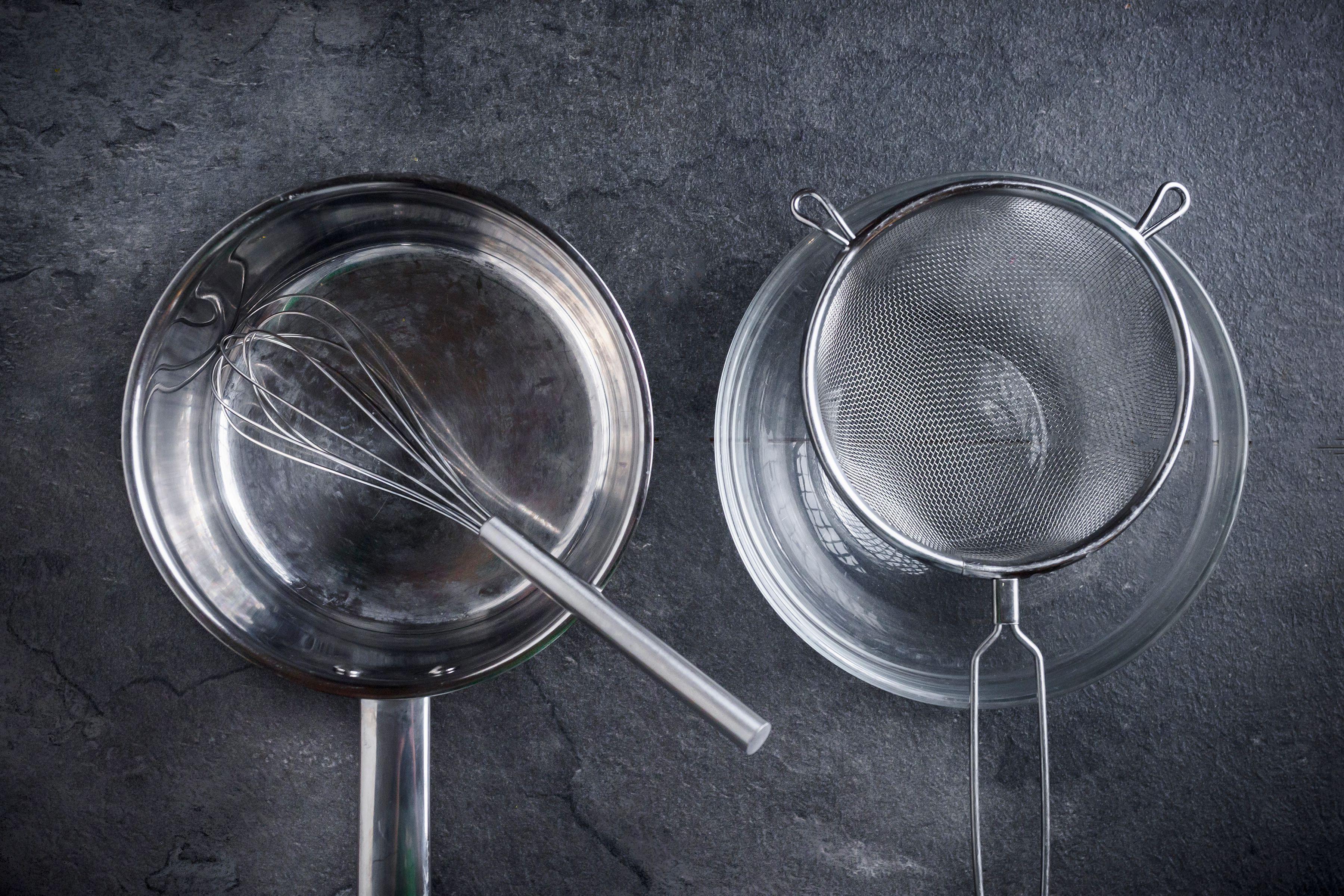 Saute pan, strainer, bowl