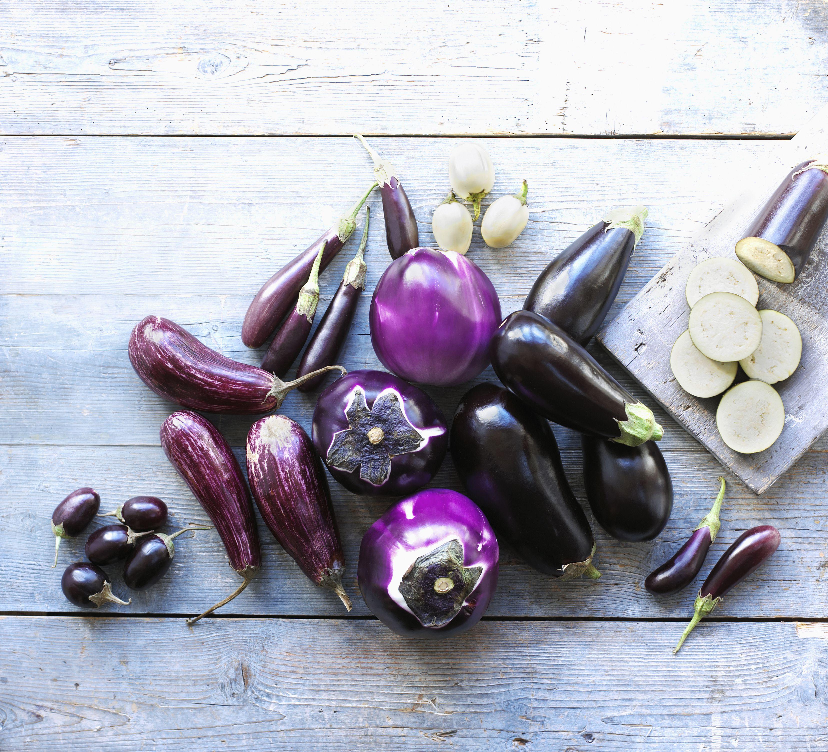 Selection of aubergines, striped Italian, medium round, small, white Italian, Violetta di Firenze, large purple