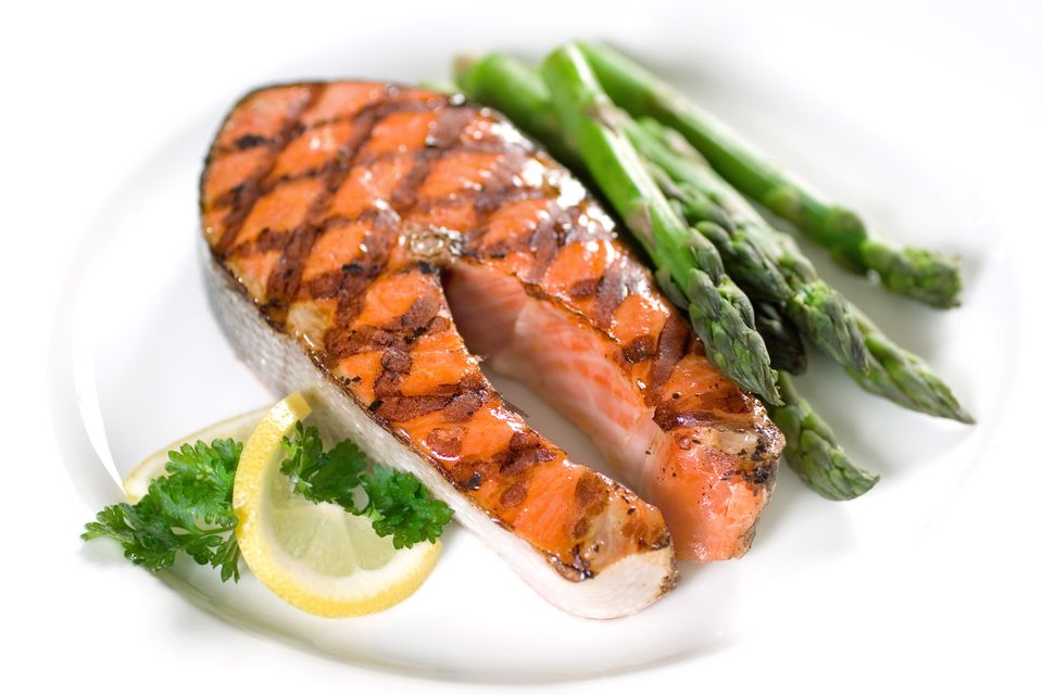 Grilled salmon steak and asparagus