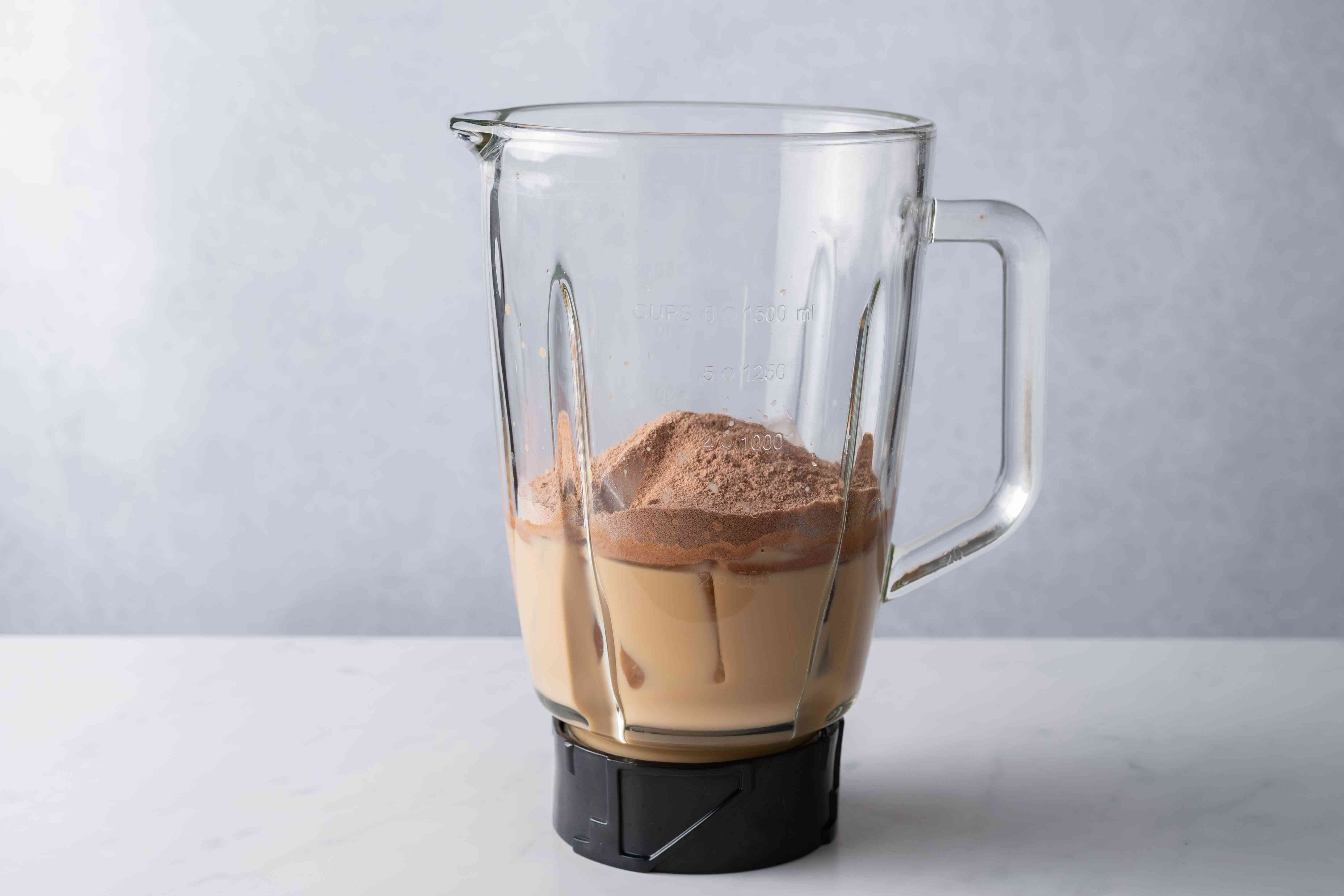 Add the protein powder and ice to the blender