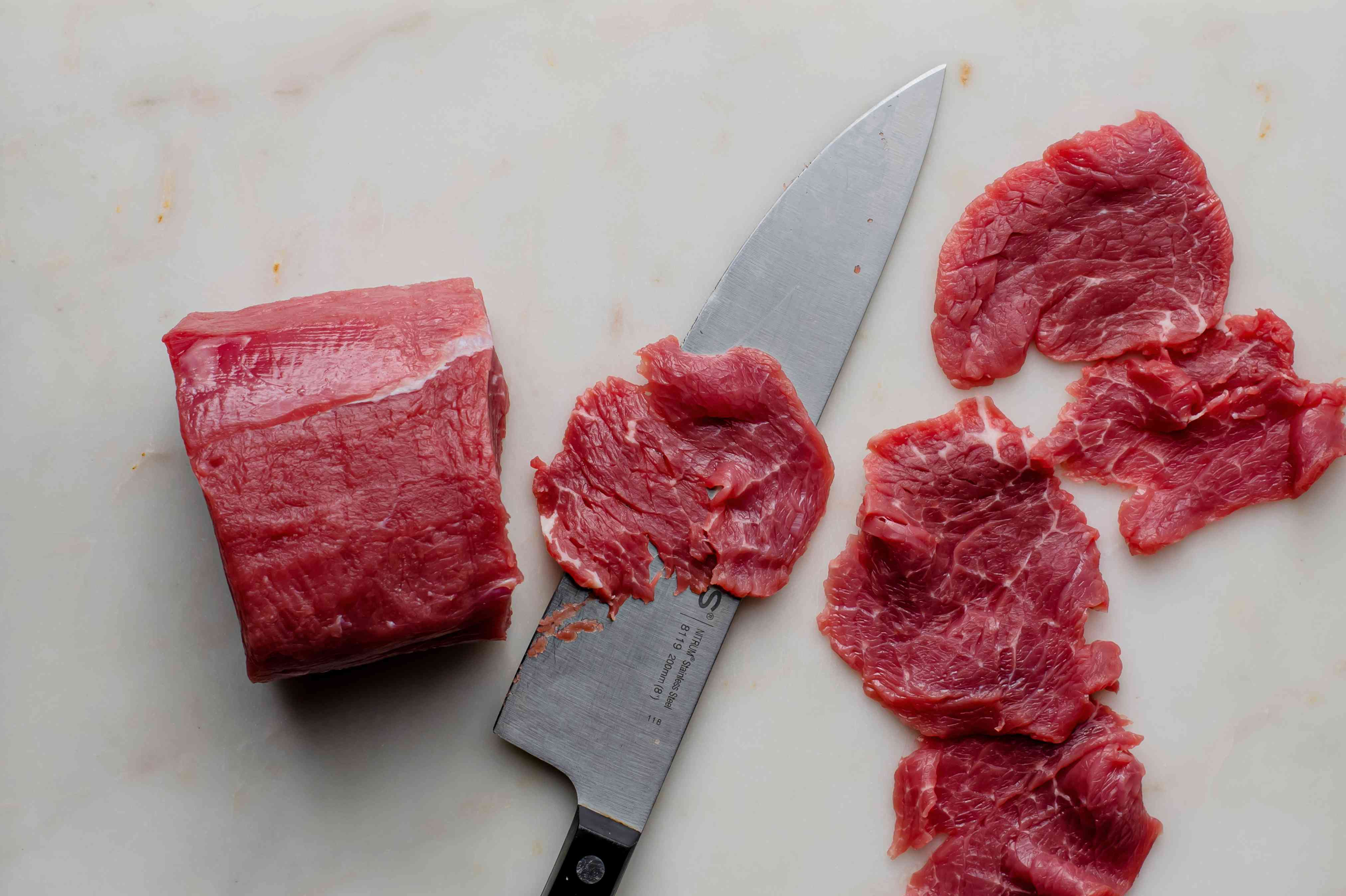 slice meat into thin pieces